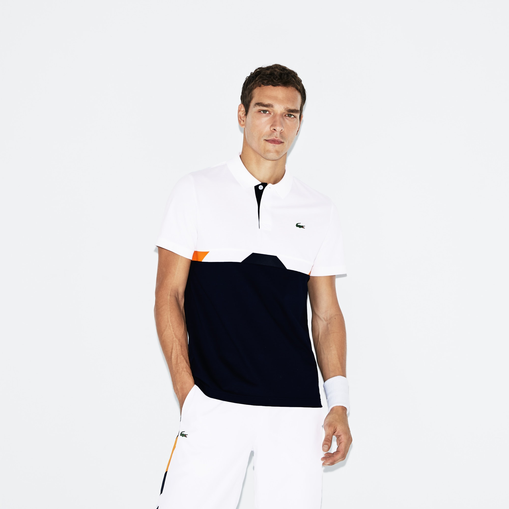 Polo Tennis Lacoste SPORT in cotone ultra leggero con fascia color block
