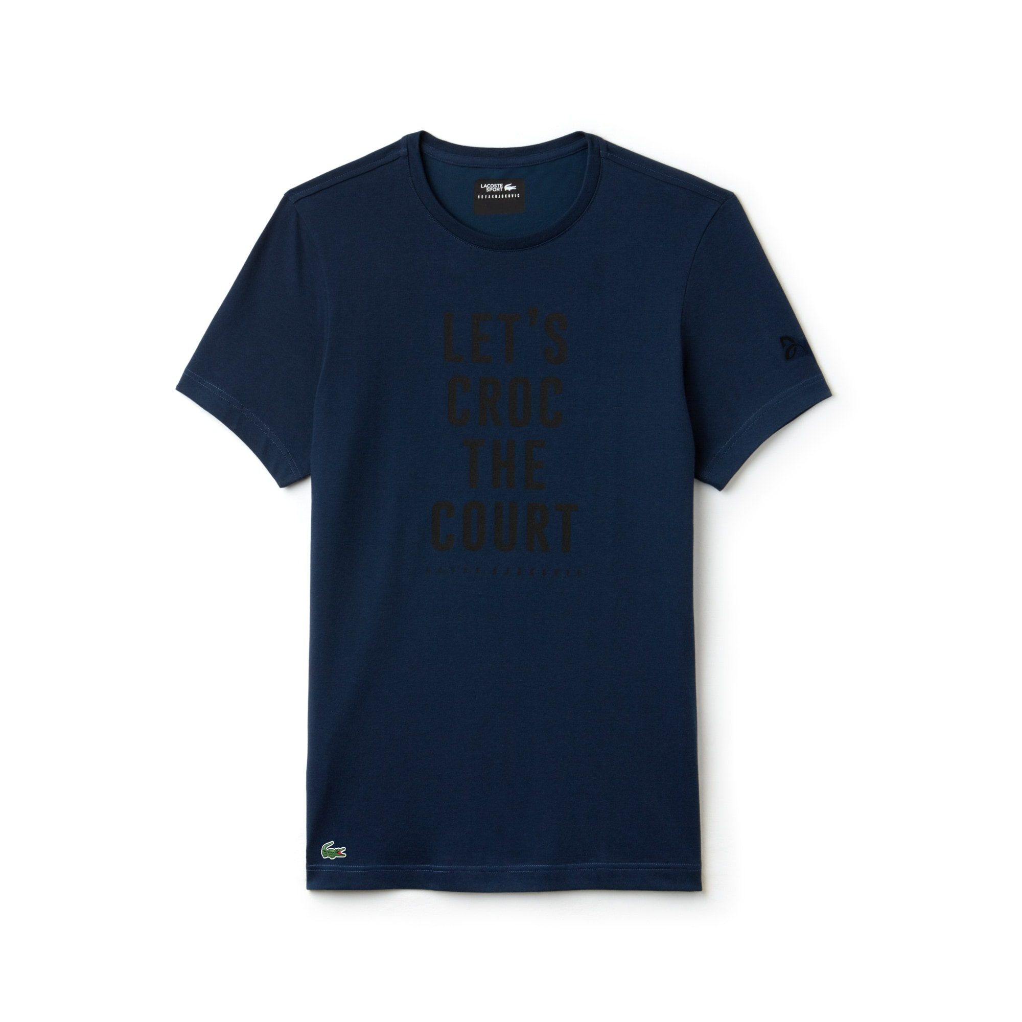 T-shirt a girocollo Lacoste SPORT Collezione Novak Djokovic Support With Style - Off Court in jersey tecnico con marchio