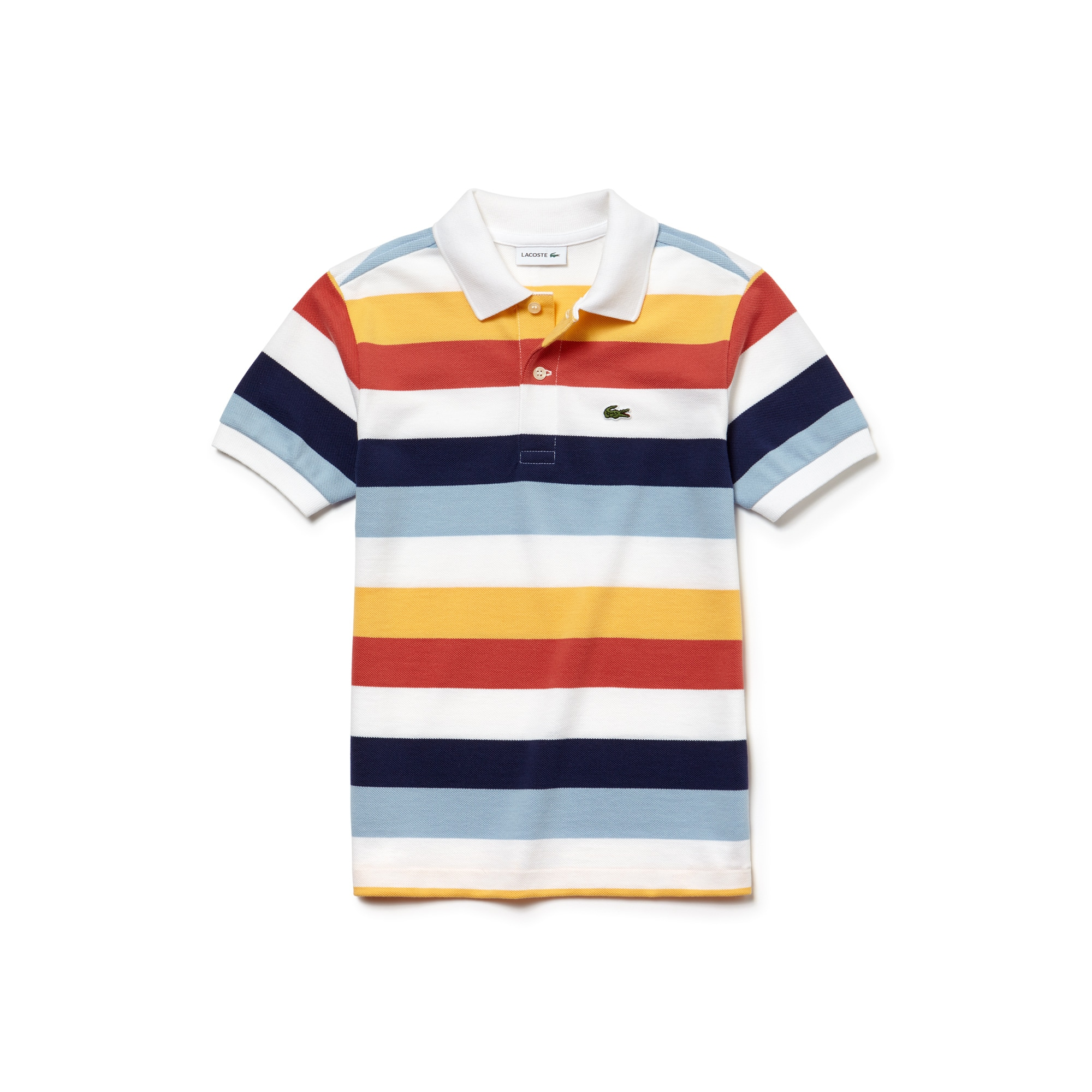 Polo Bambino Lacoste in piqué a righe colorate