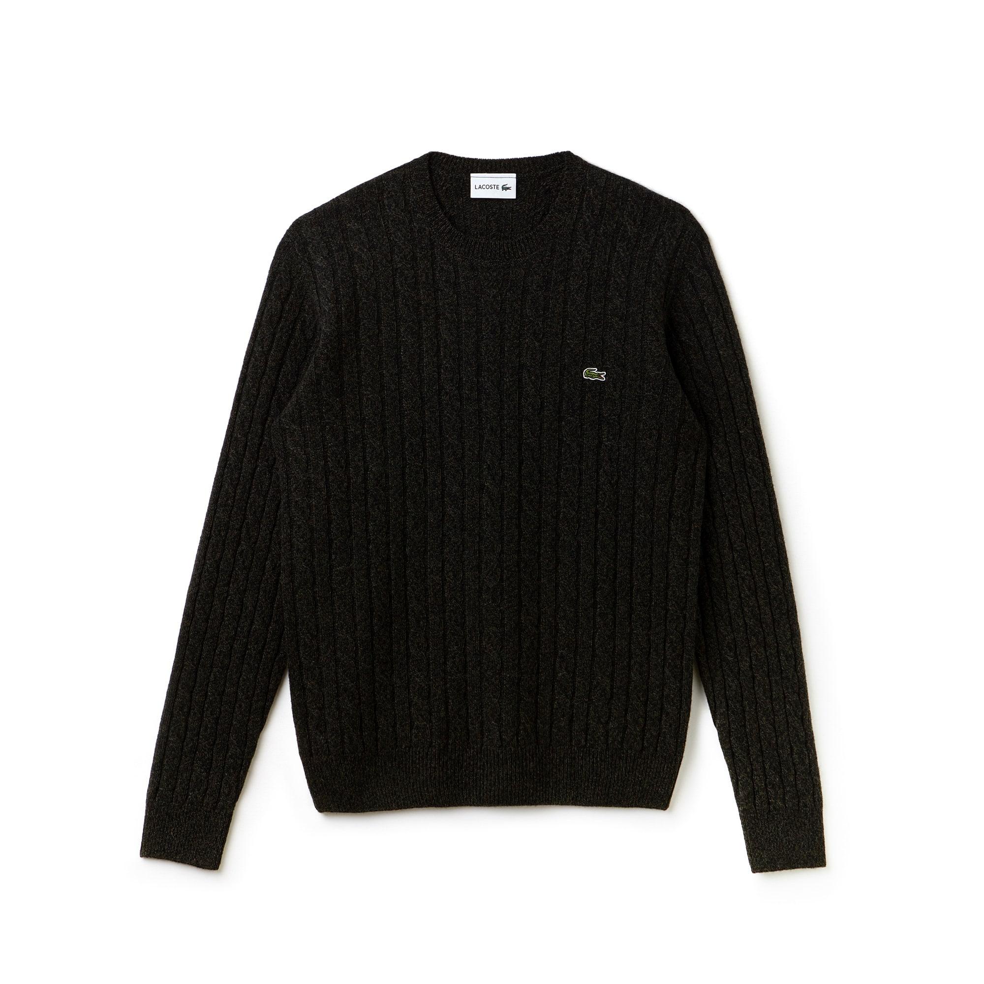 Pullover a girocollo in lana a trecce con effetto di maglia