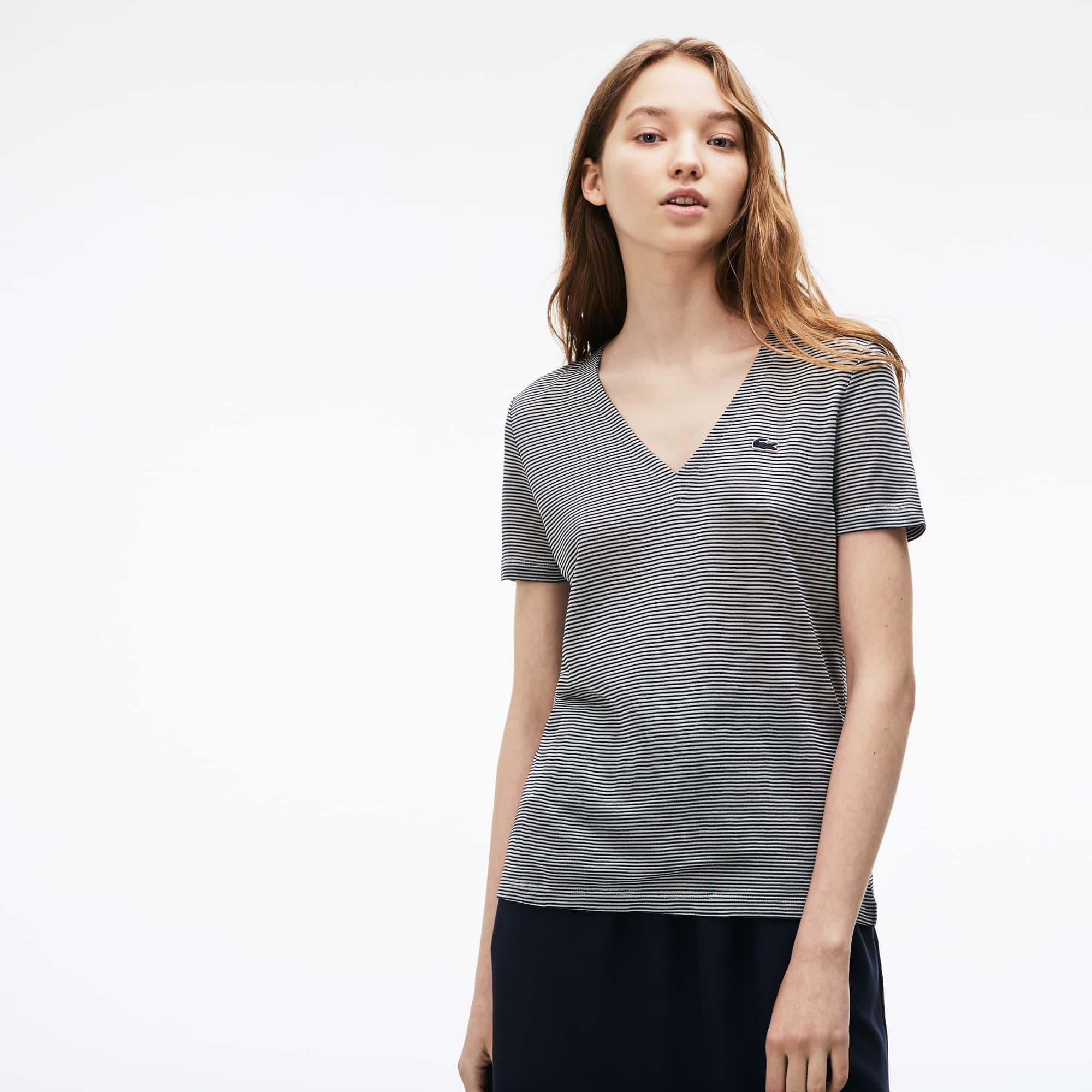 T-shirt con collo a V in jersey di cotone Ottoman millerighe