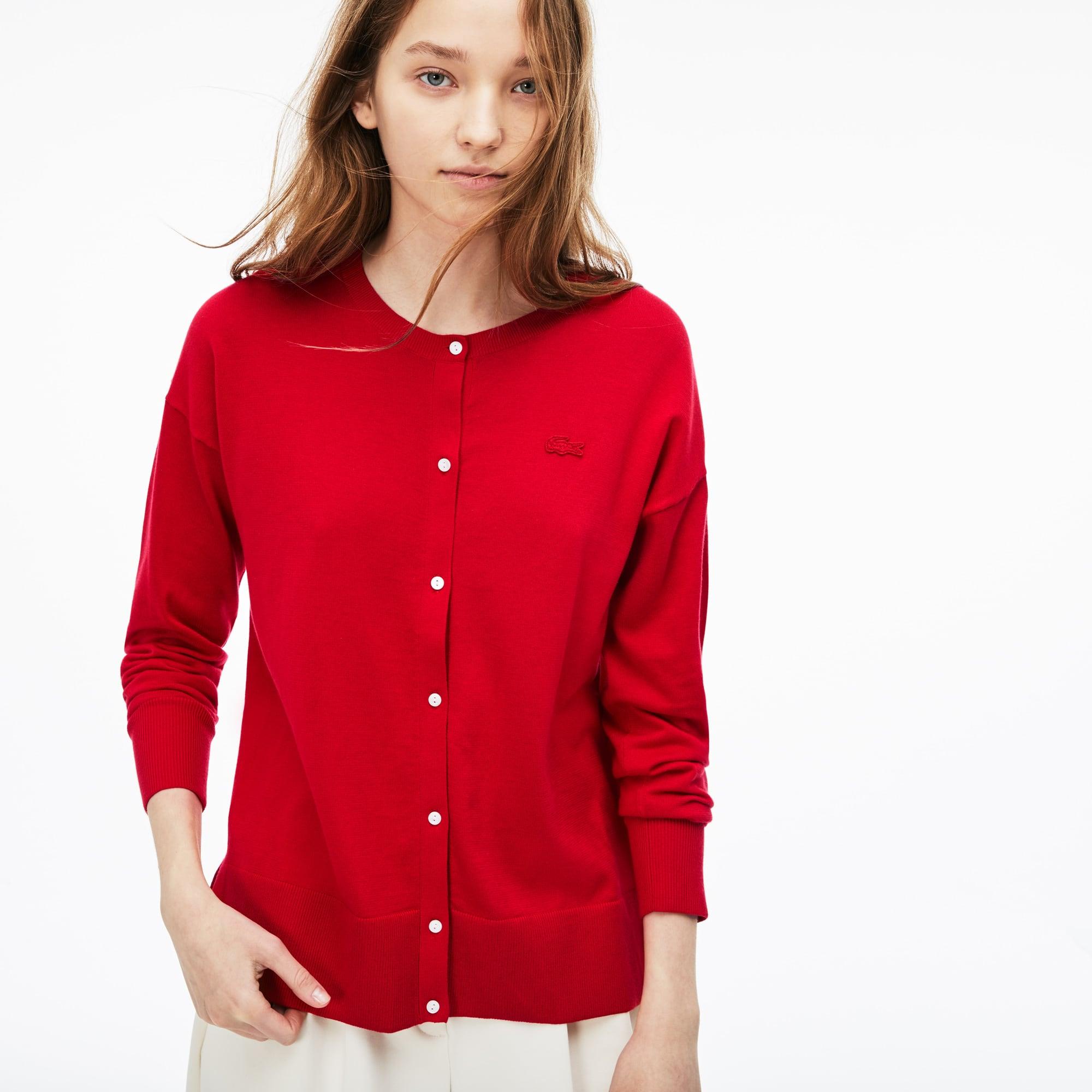 Cardigan a girocollo in jersey di cotone tinta unita