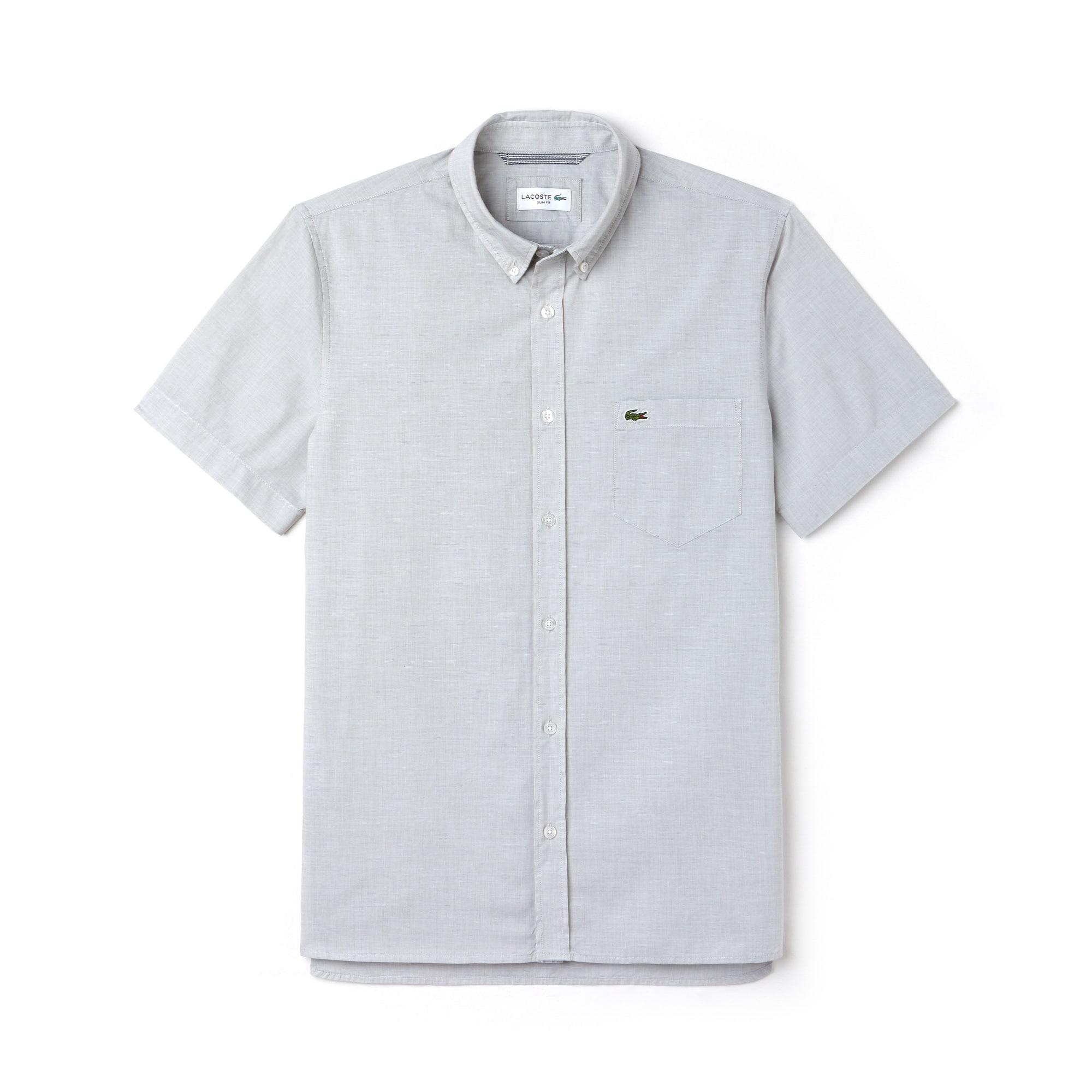 Camicia slim fit a maniche corte in cotone fil à fil tinta unita