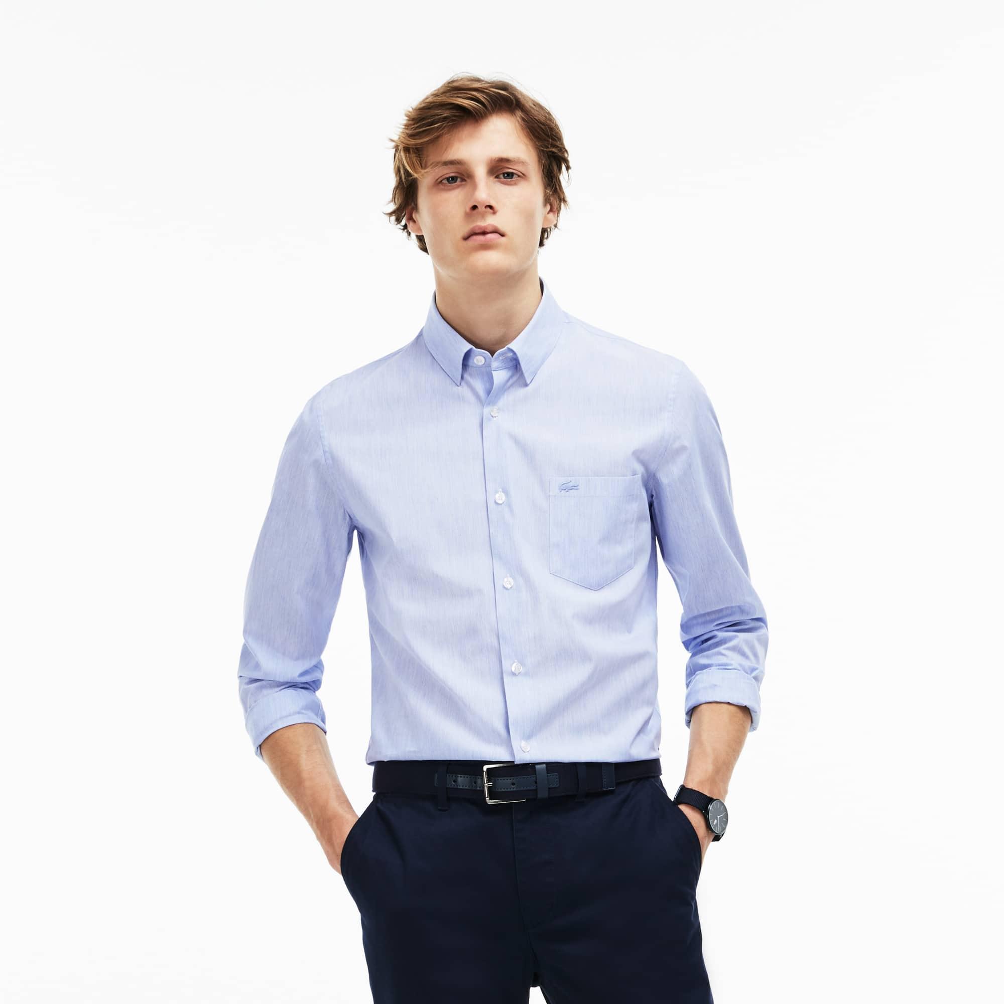 Camicia slim fit in popeline di cotone effetto chiné