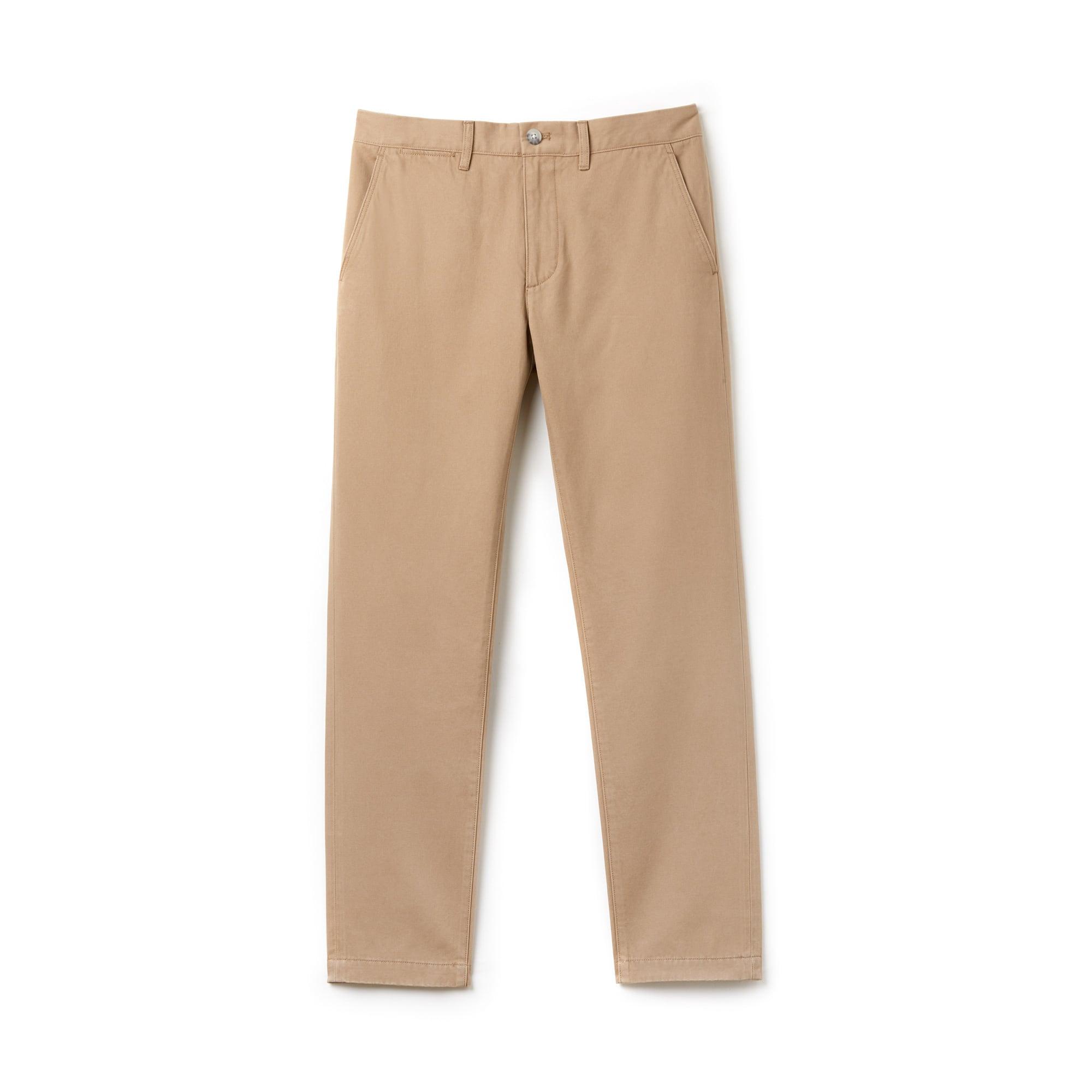 Pantaloni chino regular fit in gabardine di cotone tinta unita