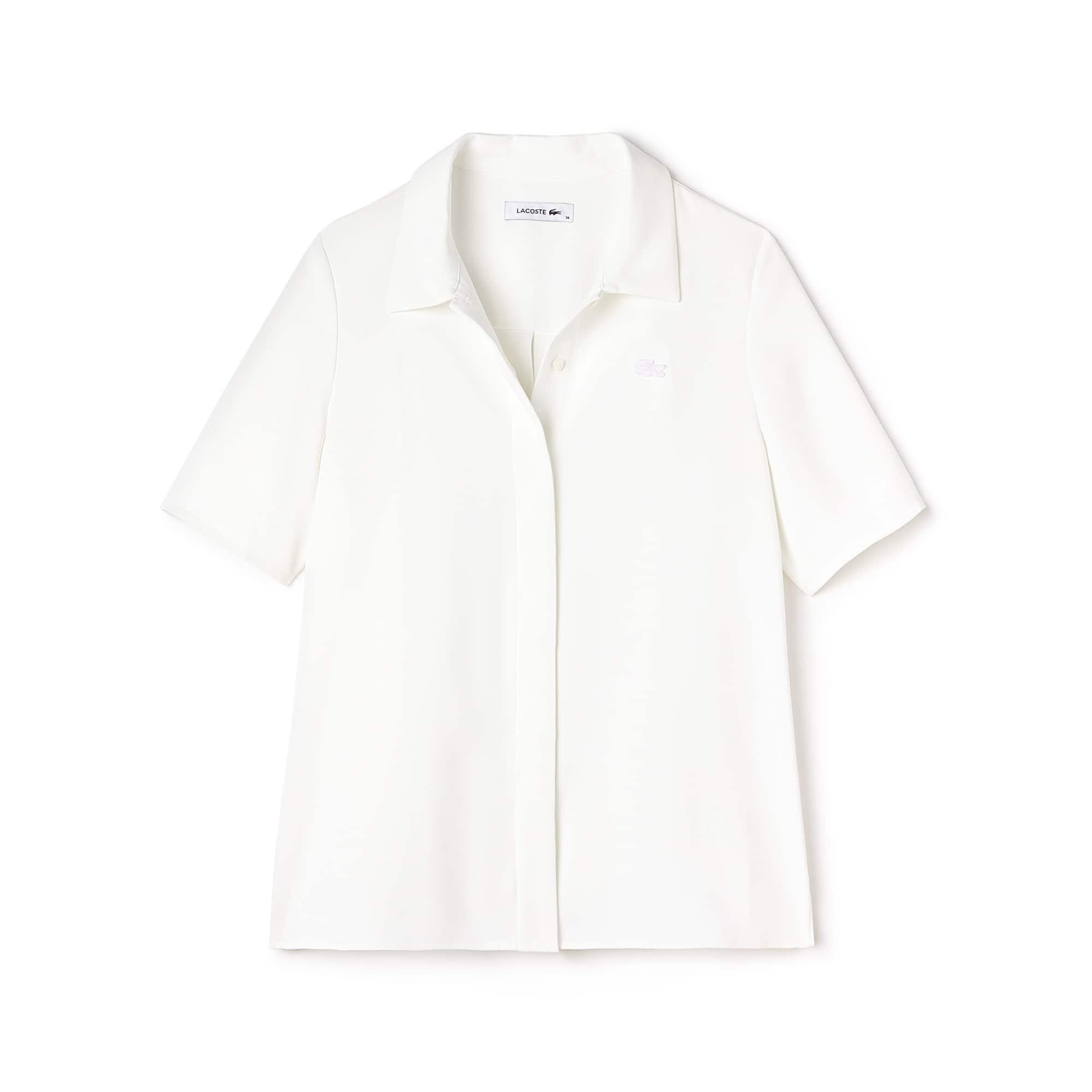 Camicia regular fit con maniche a tre quarti in crêpe tinta unita