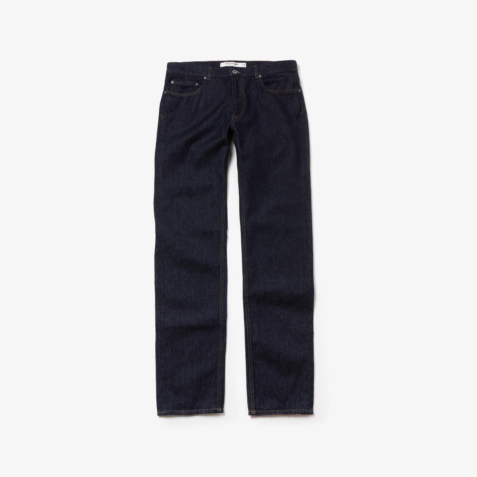 Jeans 5 tasche dal taglio dritto in denim di cotone