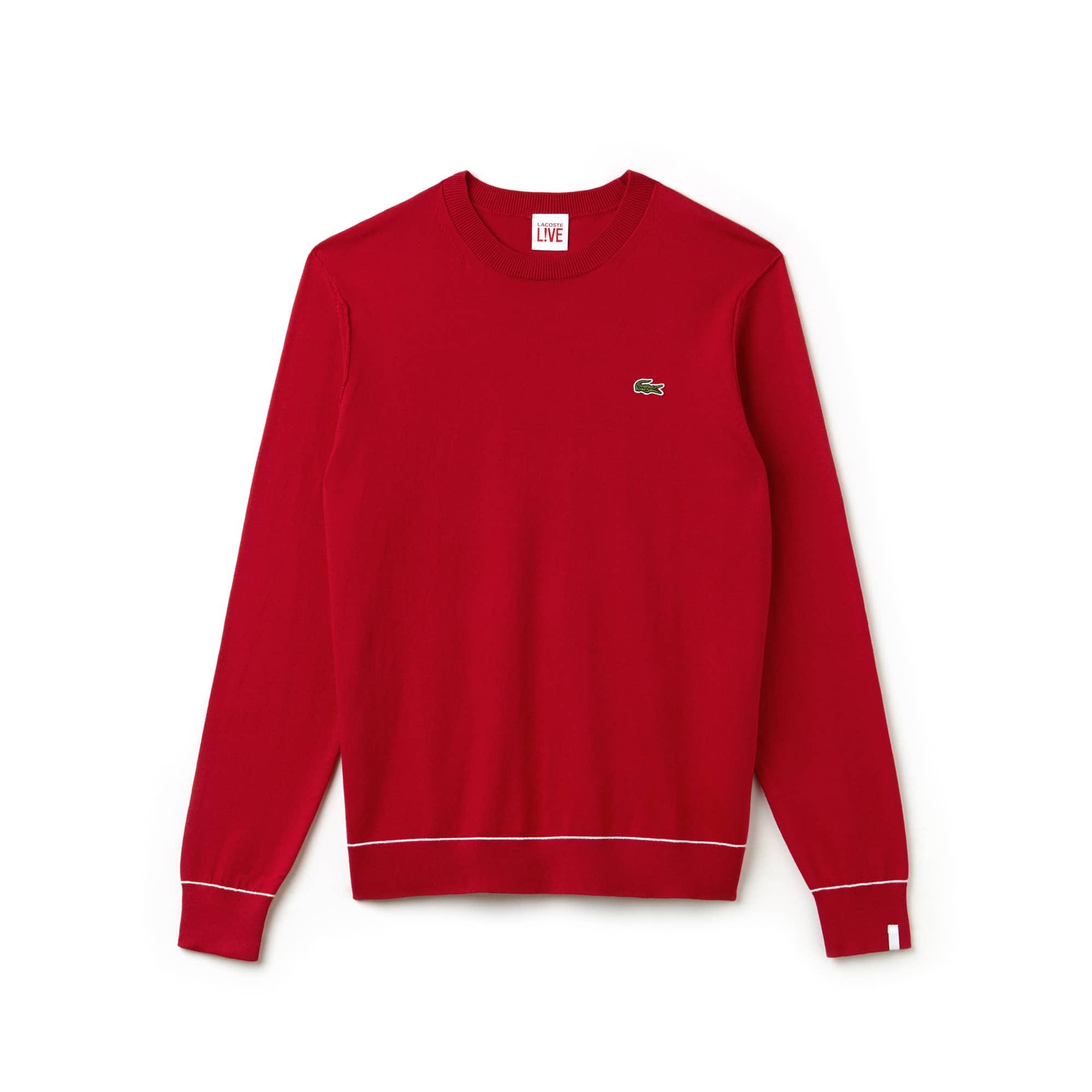 Pullover a girocollo Lacoste LIVE in jersey di cotone e seta tinta unita