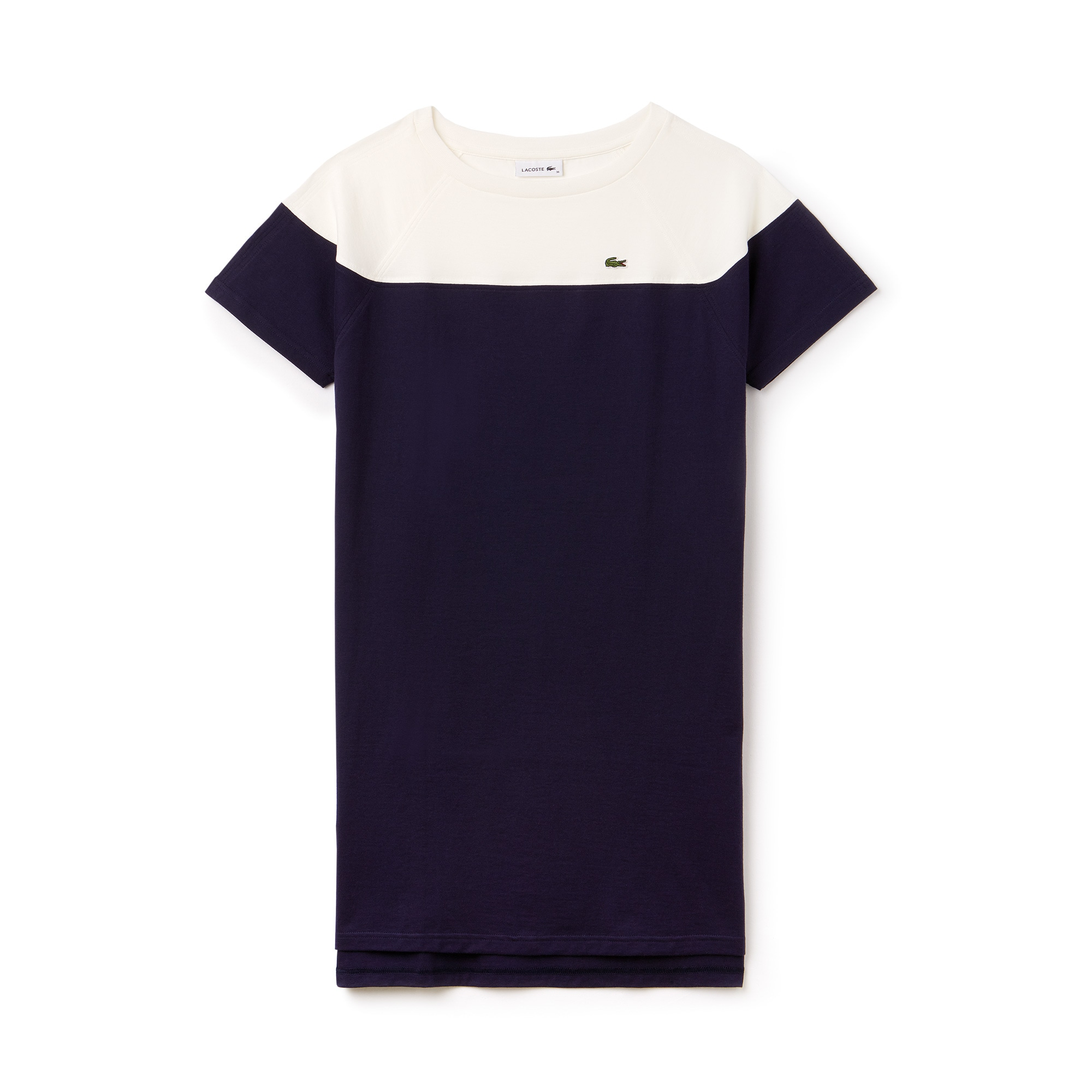 Abito a t-shirt con collo a barchetta in jersey di cotone color block