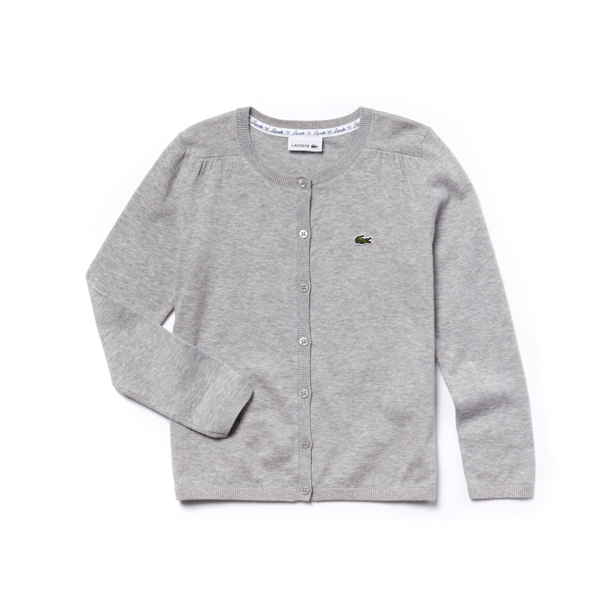Pullover con bottoni Bambina in jersey di cotone e lana tinta unita