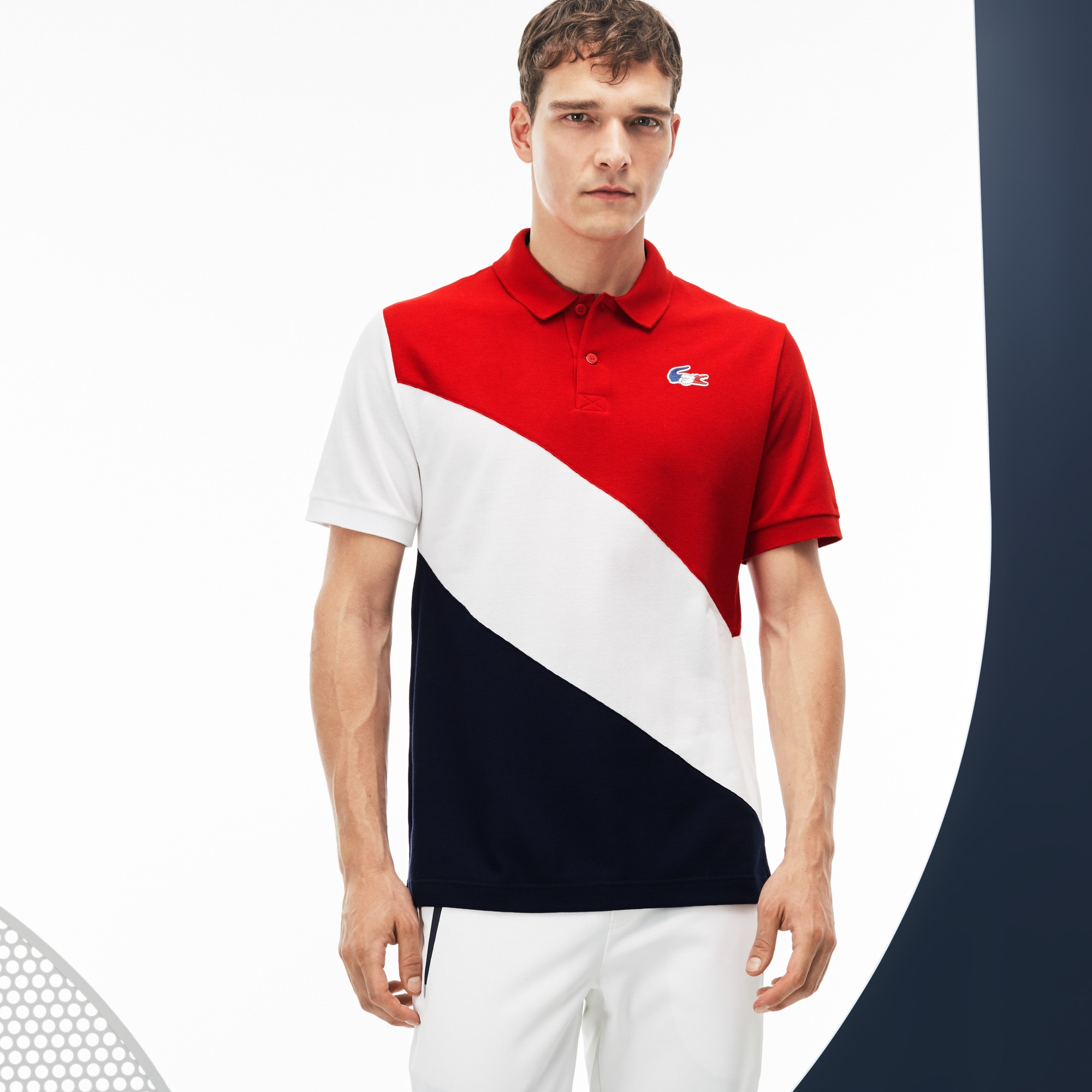 Polo Lacoste SPORT in petit piqué color block Edizione FRENCH SPORTING SPIRIT