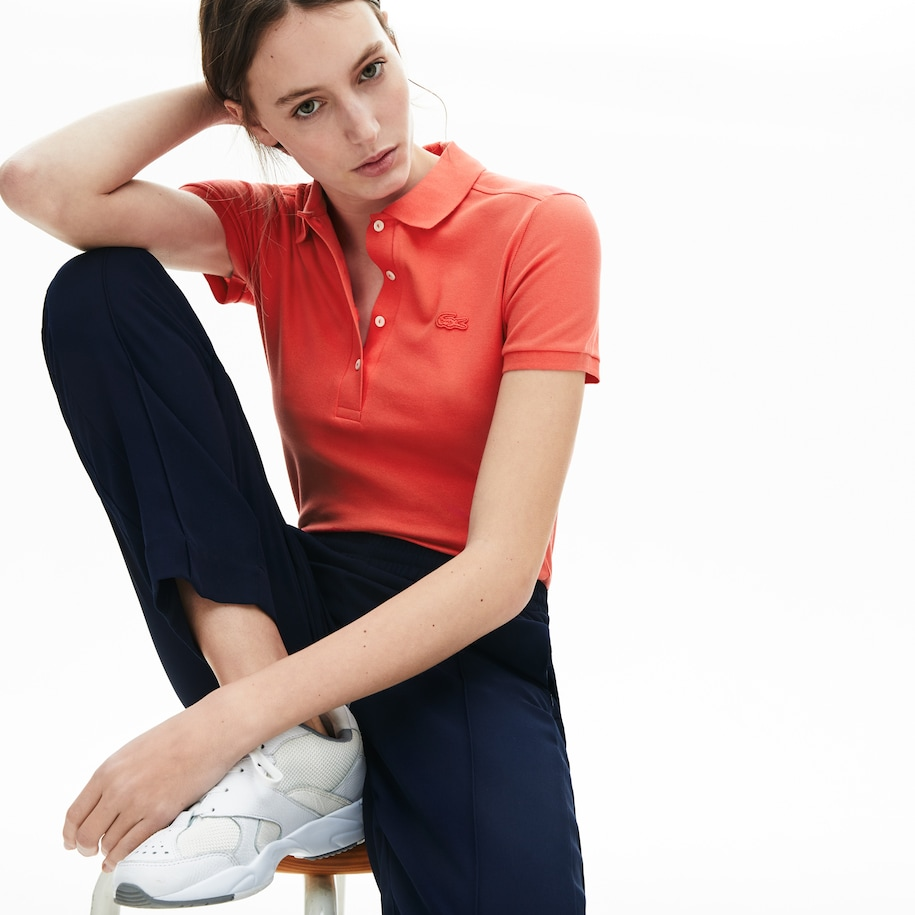 Polo da donna in piqué di cotone stretch Lacoste slim fit