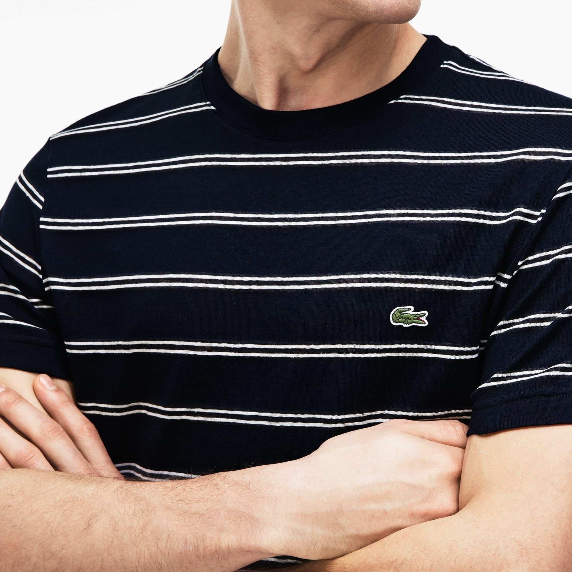 T-shirt a girocollo in jersey di cotone e lino a righe
