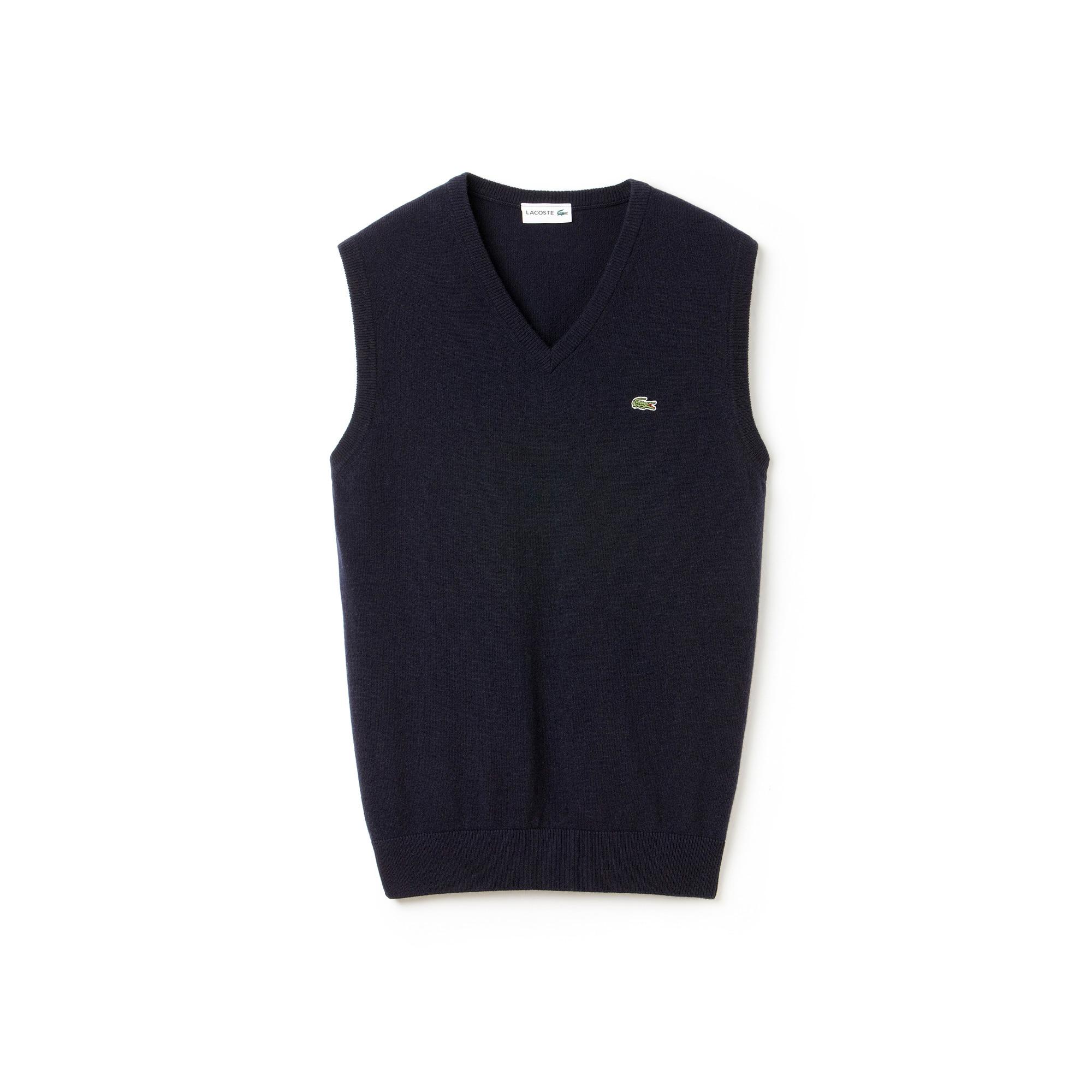Pullover con collo a V senza maniche in jersey di lana tinta unita