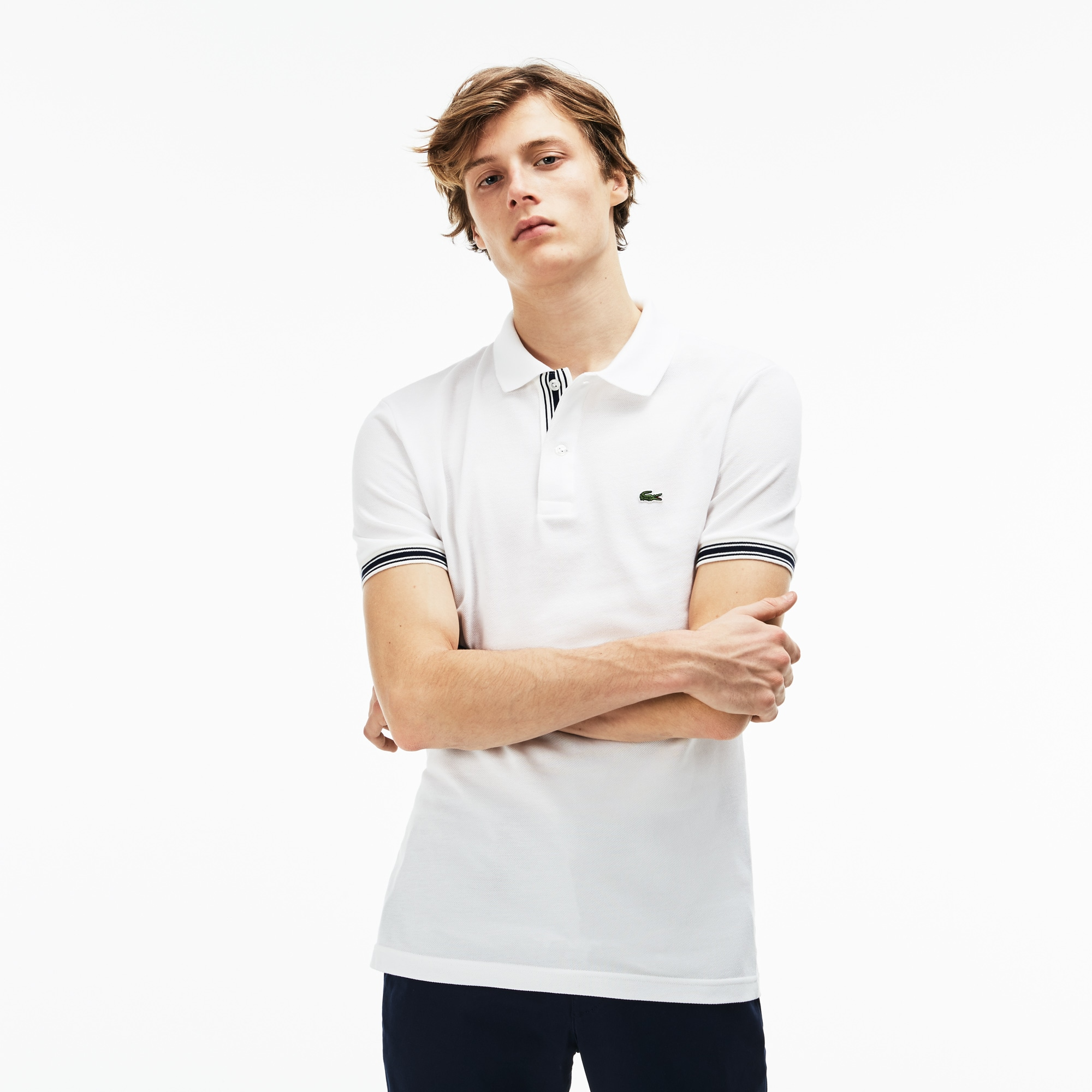 Polo slim fit Lacoste in petit piqué con bordino sulle maniche