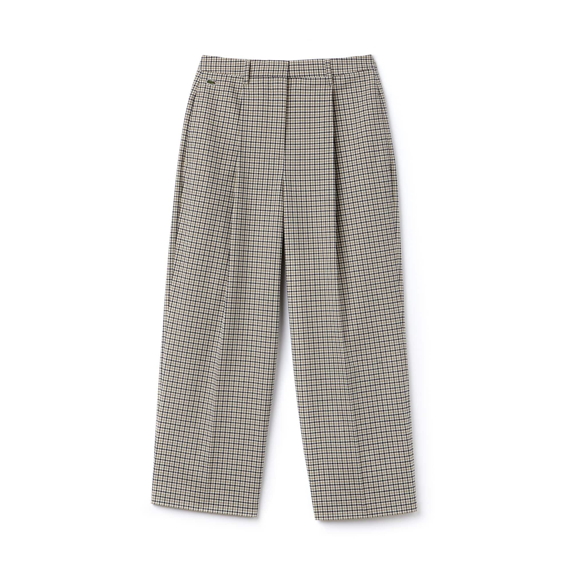Pantaloni con pince Lacoste LIVE in twill stretch a quadretti