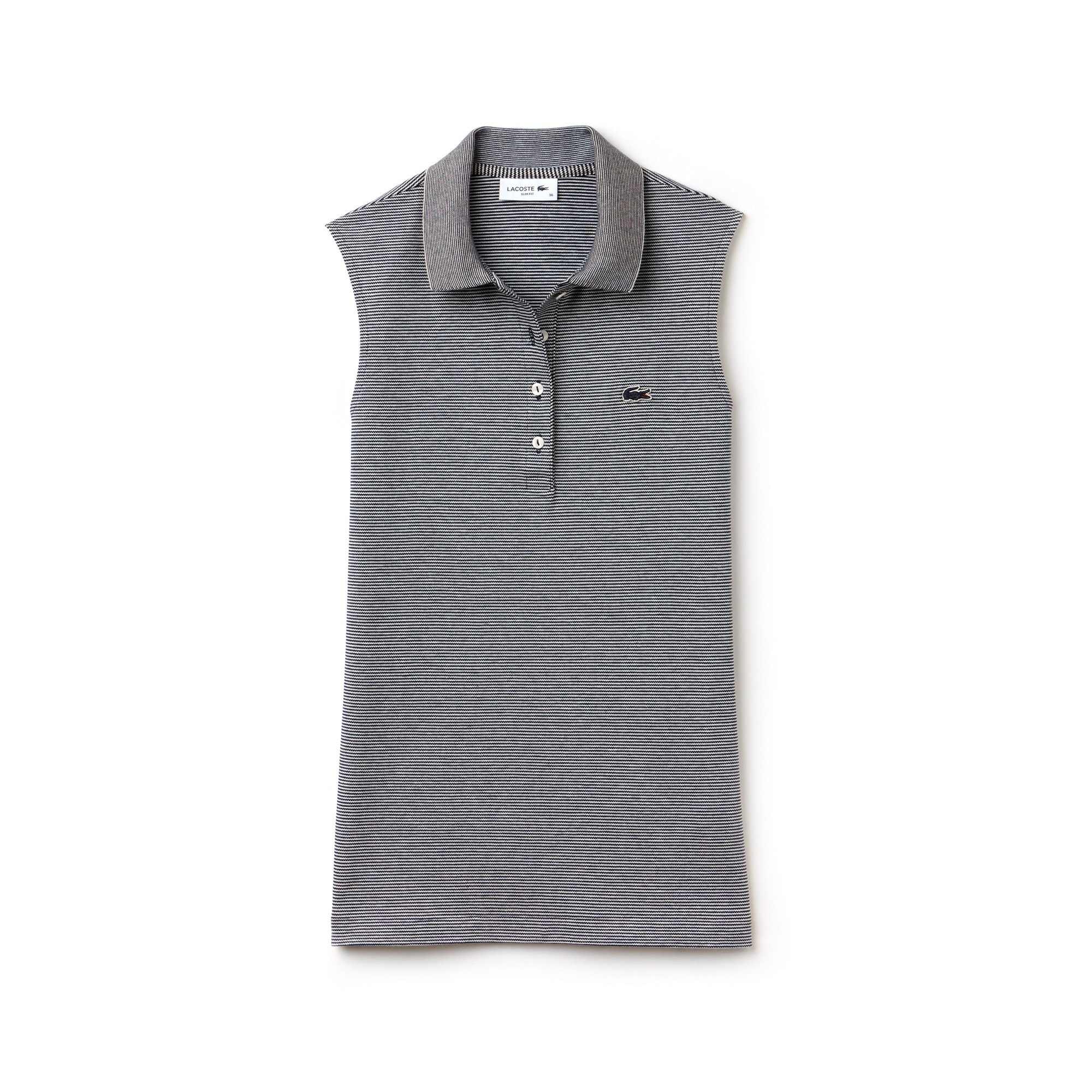 Polo slim fit Lacoste senza maniche in mini piqué stretch millerighe