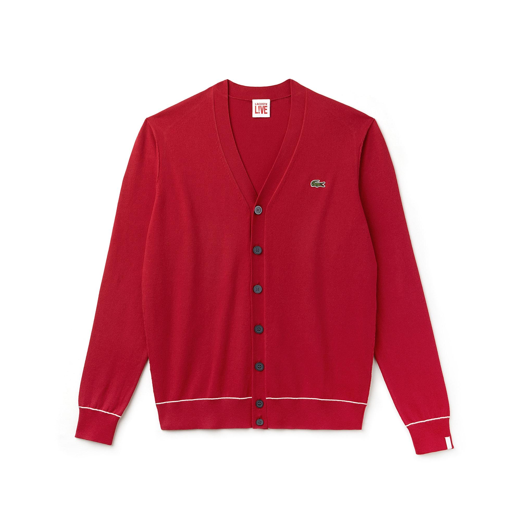 Cardigan Lacoste LIVE in jersey di cotone e seta tinta unita