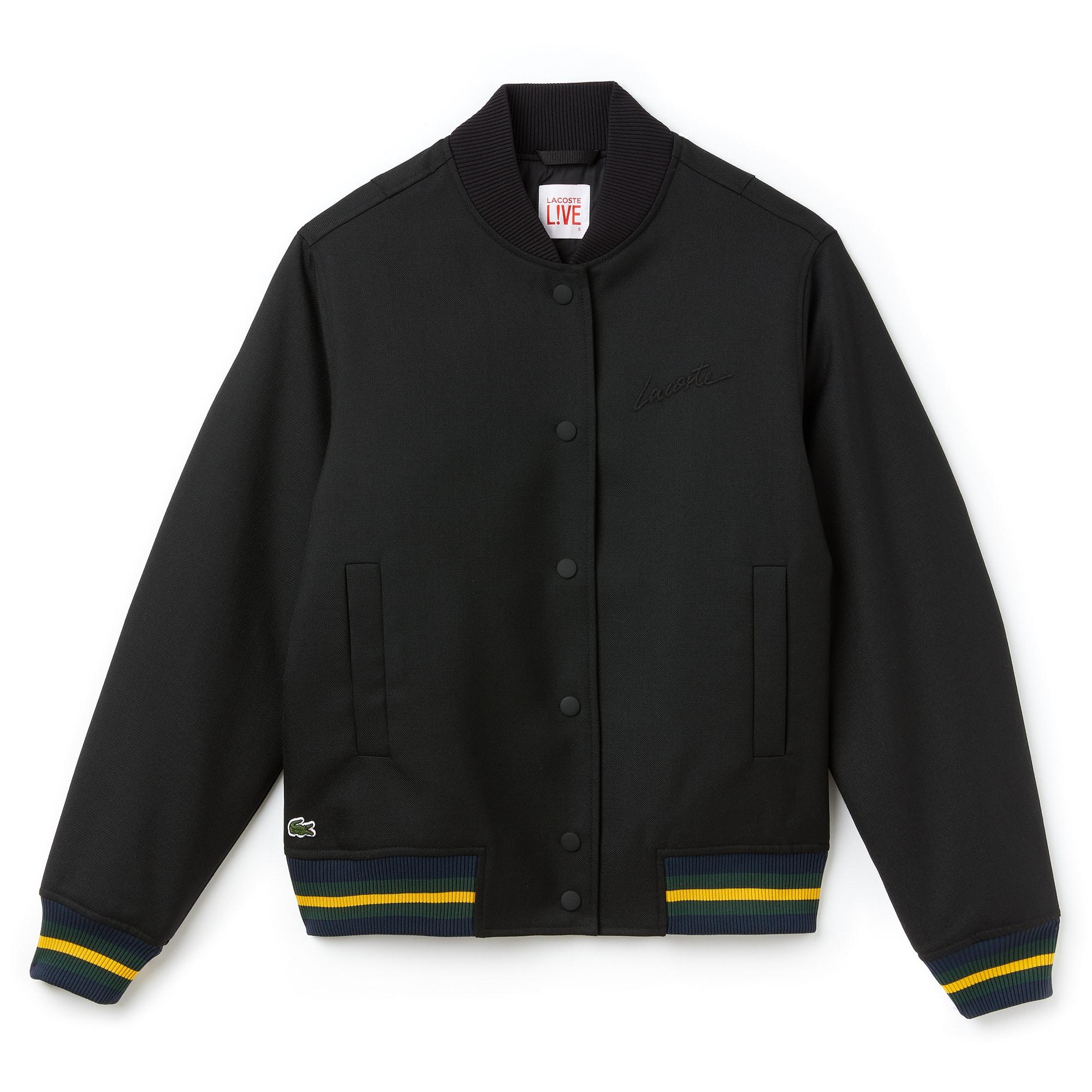 Bomber in twill di lana con finiture a contrasto