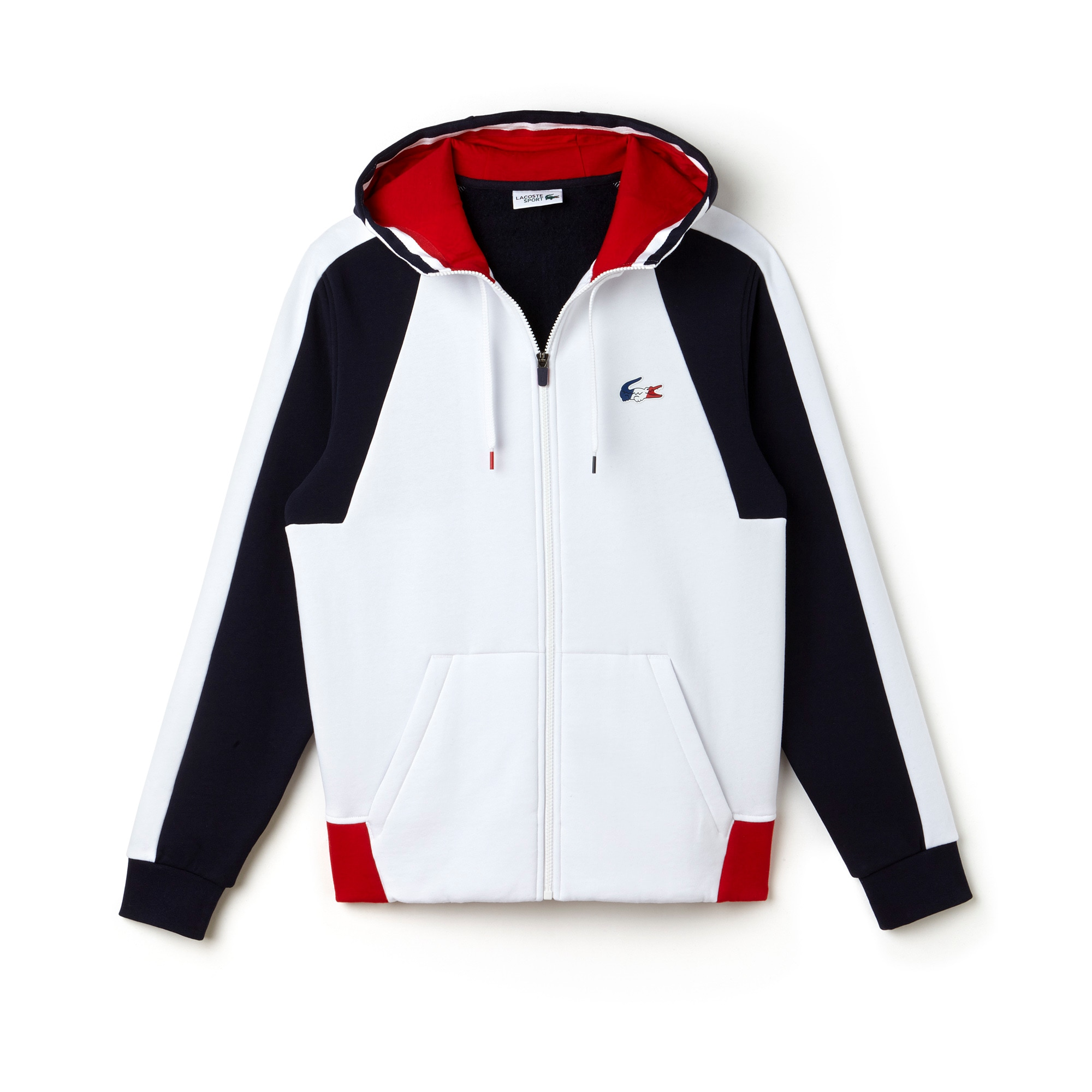 Felpa Lacoste SPORT in mollettone color block Edizione FRENCH SPORTING SPIRIT