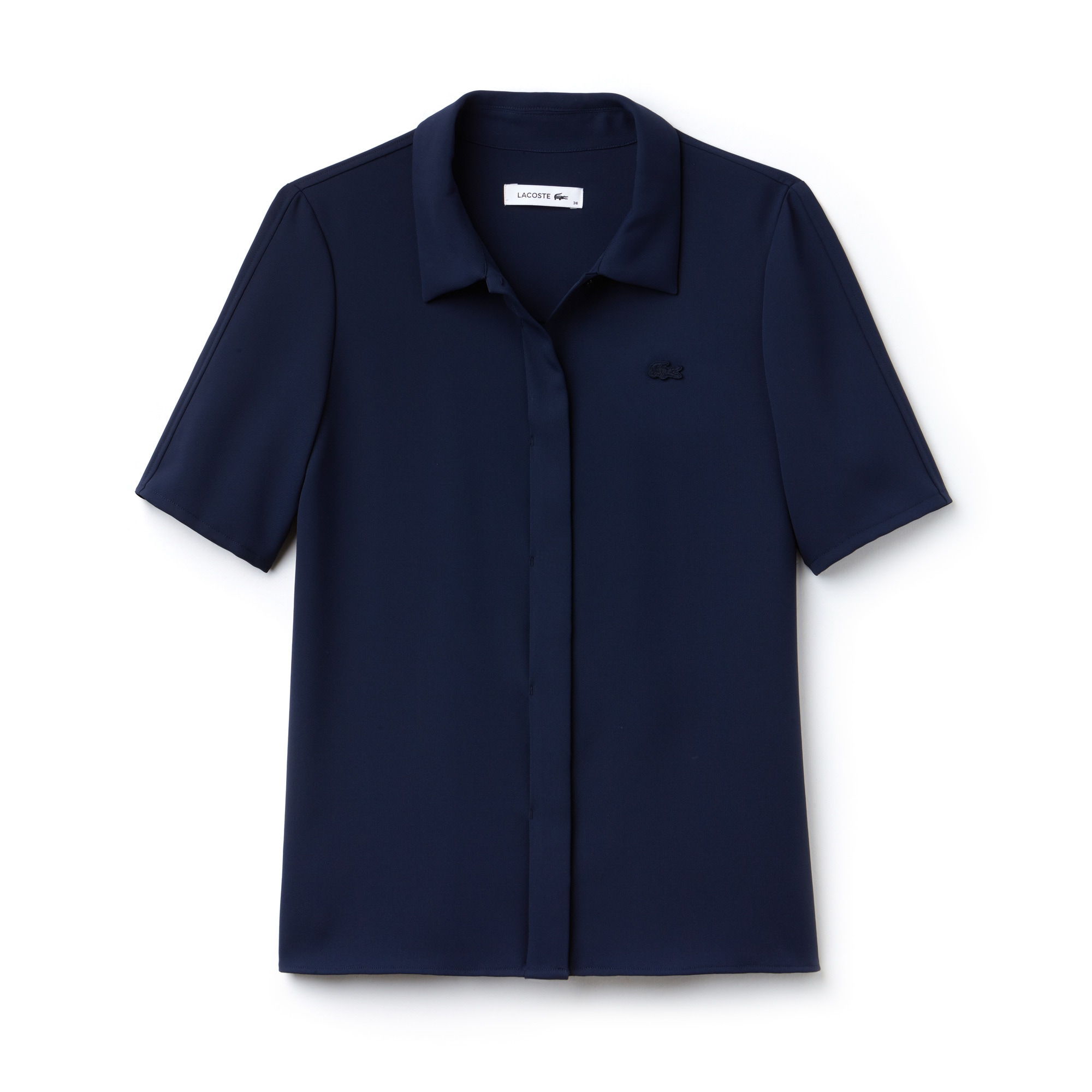 Camicia regular fit con maniche a tre quarti in crêpe tinta unita