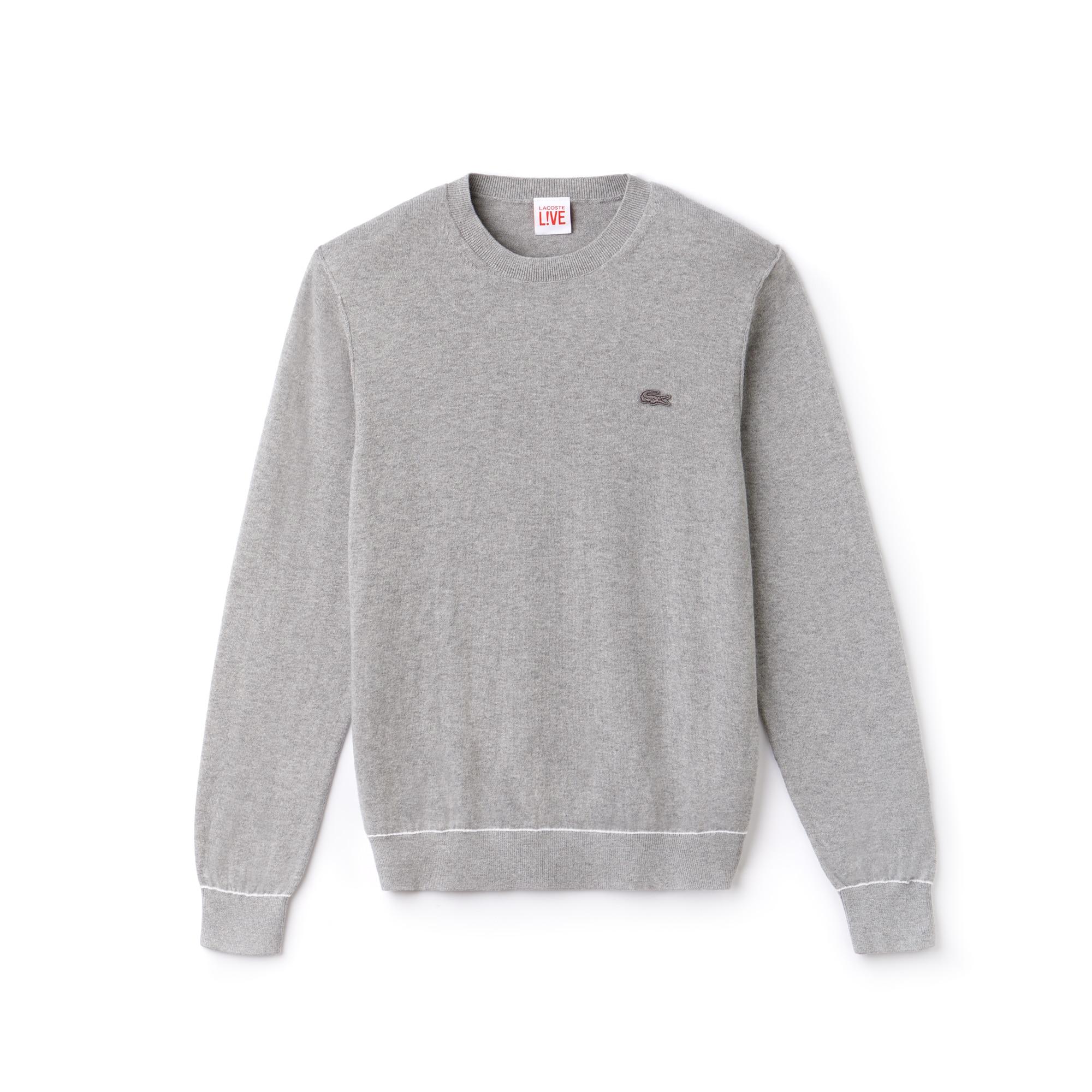 Pullover a girocollo Lacoste LIVE in jersey di cotone e cachemire con bordino