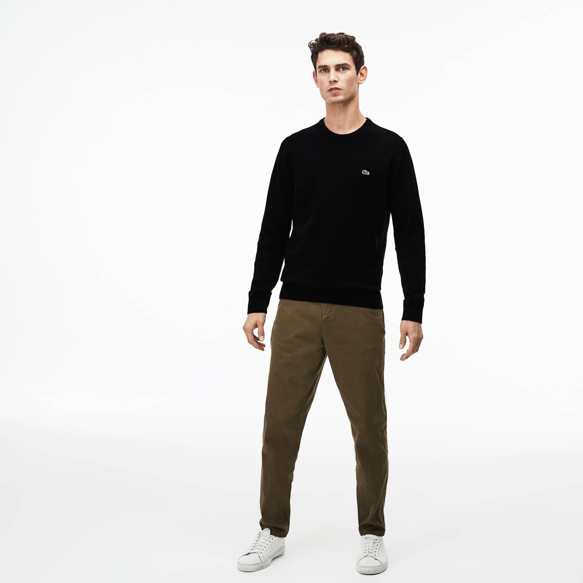 f06c9dd7b0 Pullover a girocollo in jersey di lana tinta unita | LACOSTE