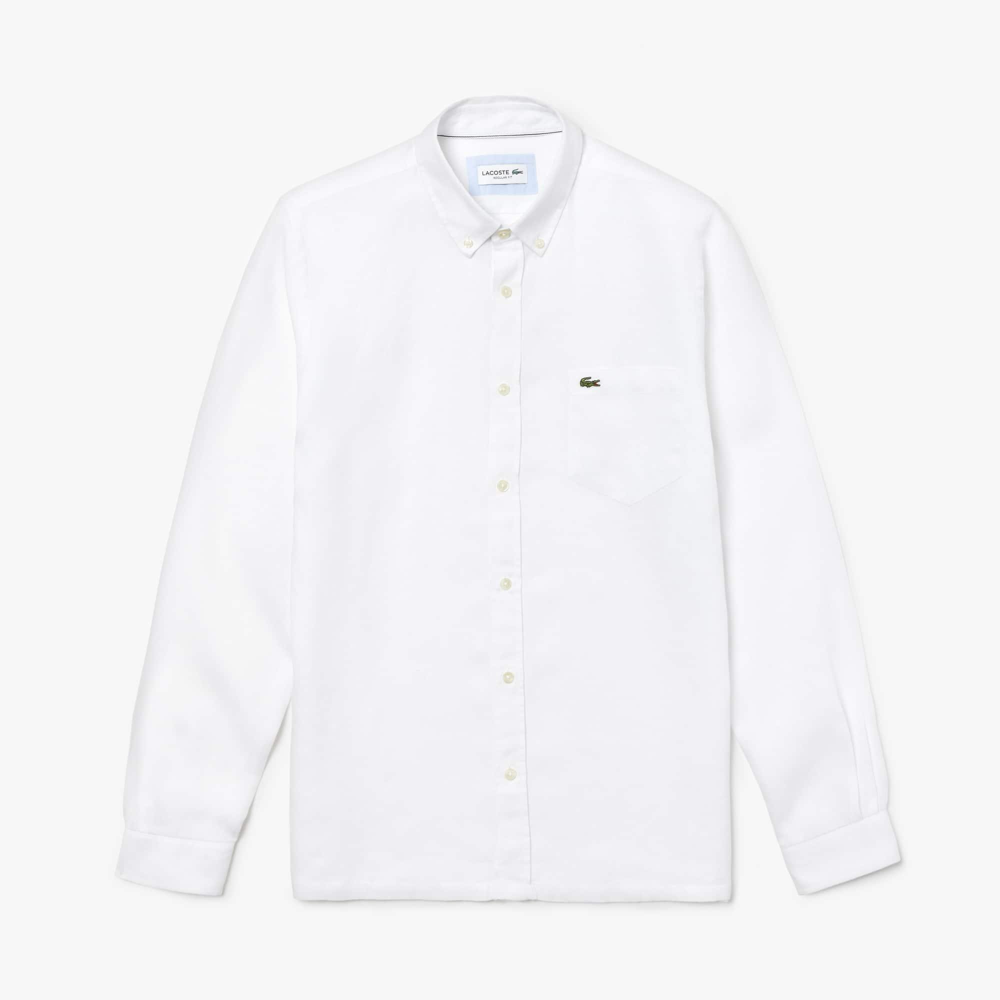 Camicia regular fit in tela di lino tinta unita
