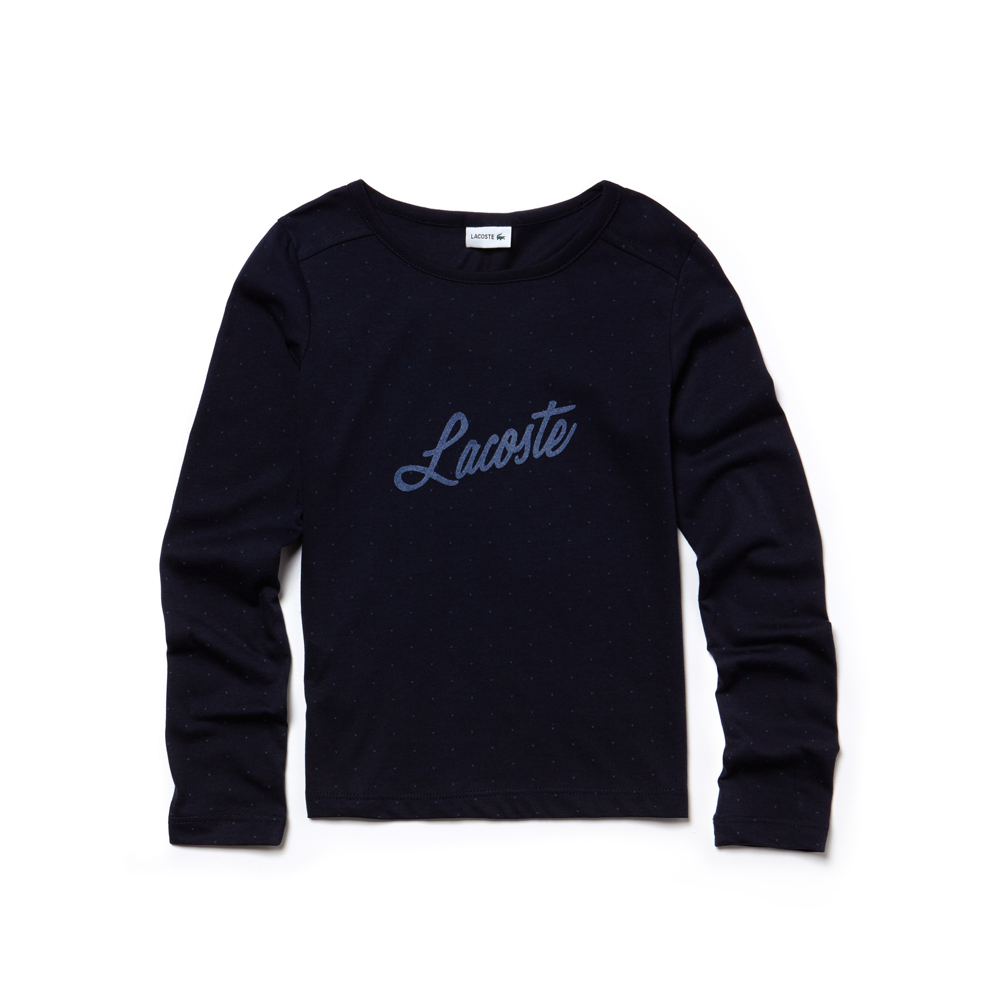 T-shirt Bambina in jersey stampato con floccatura Lacoste