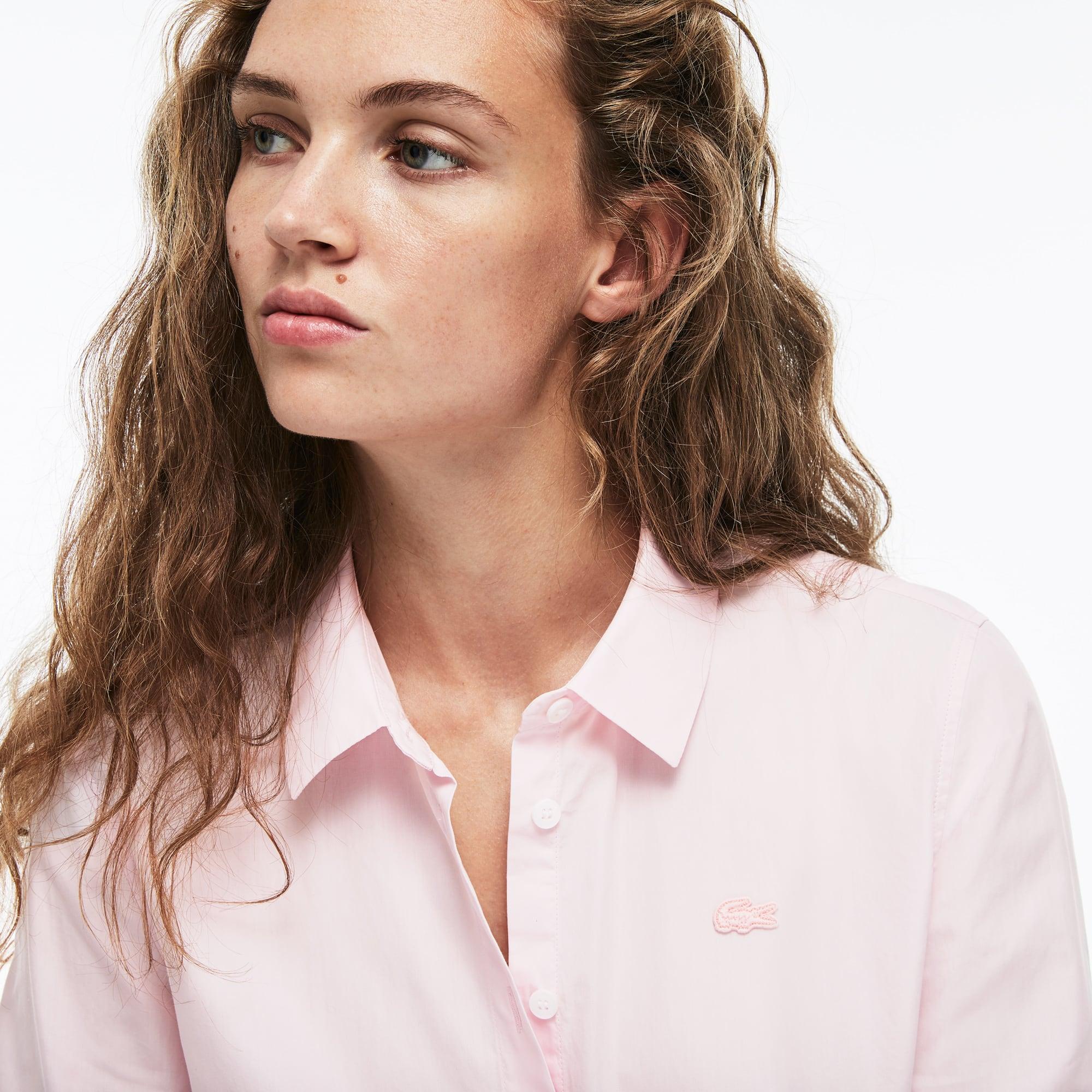 Camicia regular fit in popeline di cotone tinta unita