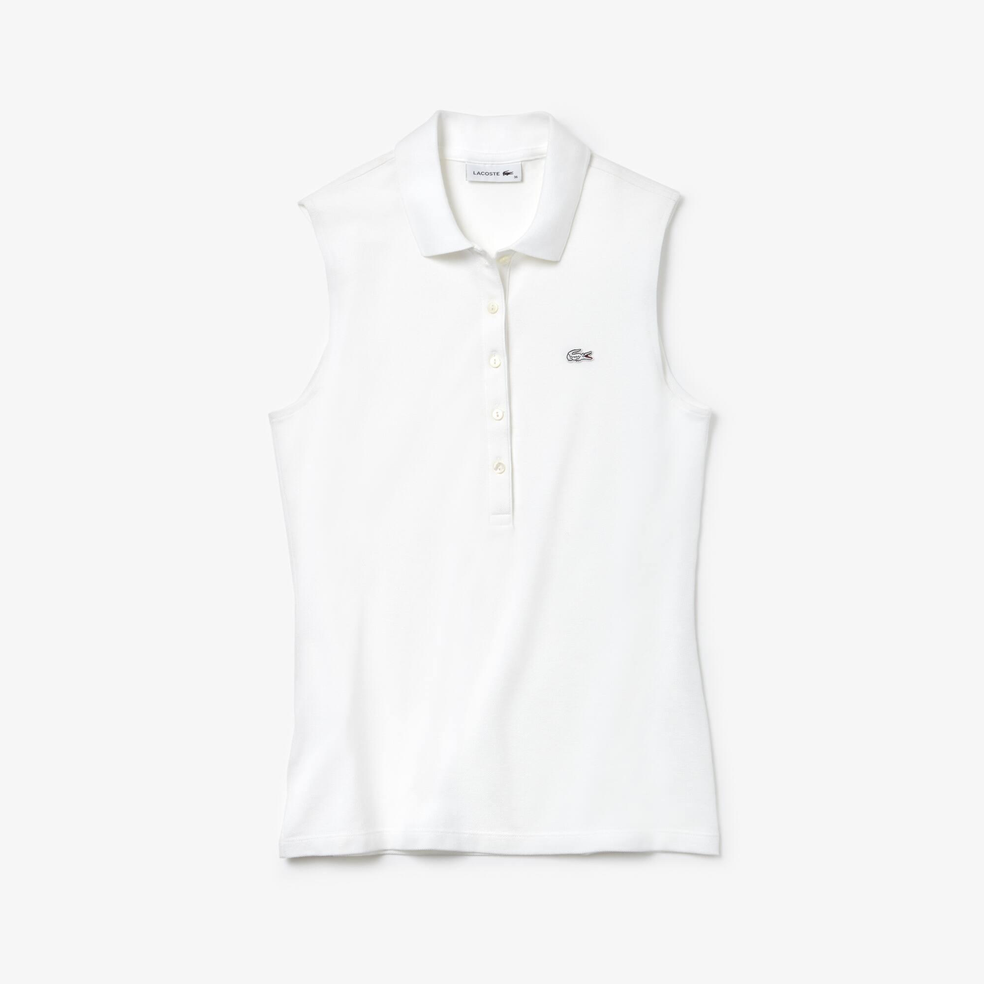 Polo senza maniche slim fit Lacoste in mini piqué stretch tinta unita