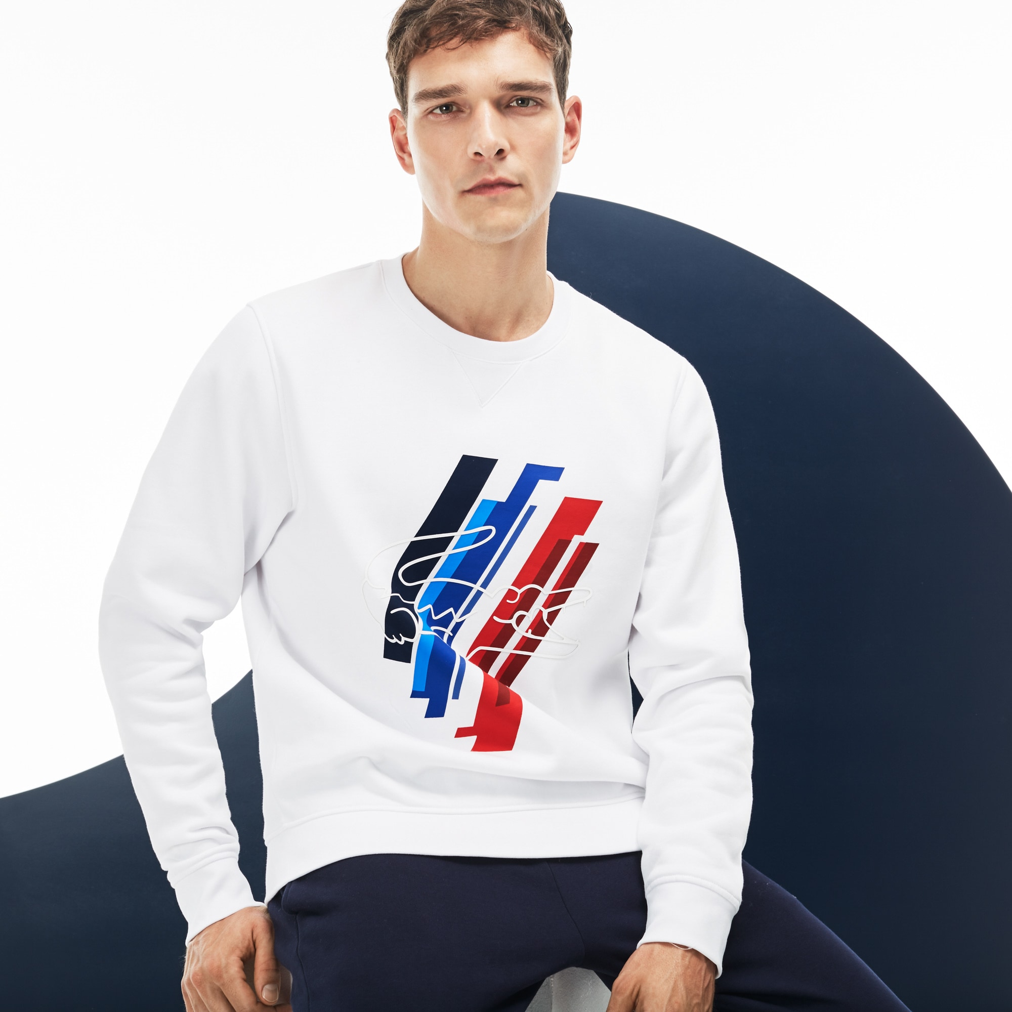 Felpa Lacoste SPORT in mollettone con stampa Edizione COLLECTION TRICOLORE