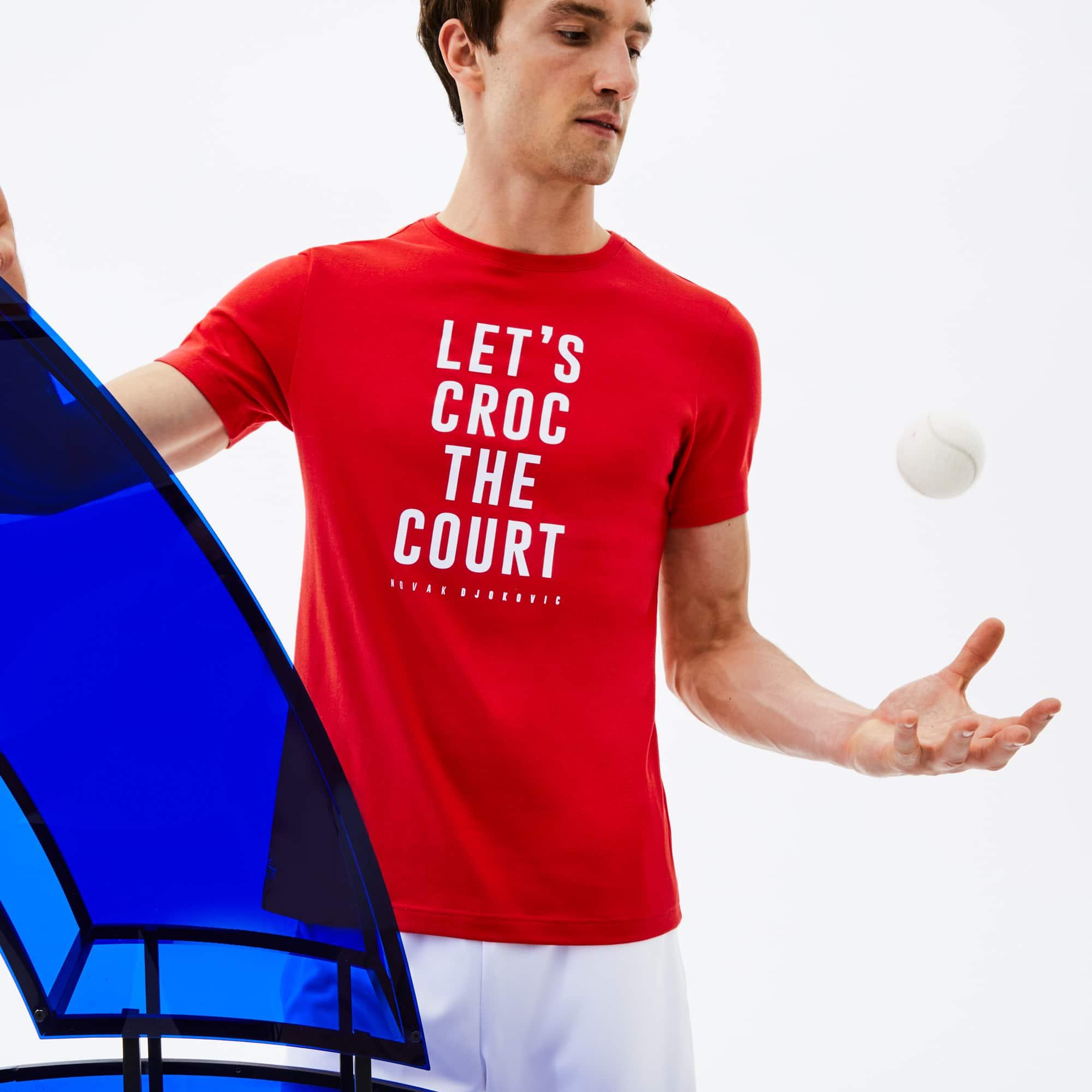 T-shirt a girocollo Lacoste SPORT Collezione Novak Djokovic Support With Style - Off Court in jersey tecnico con marchio