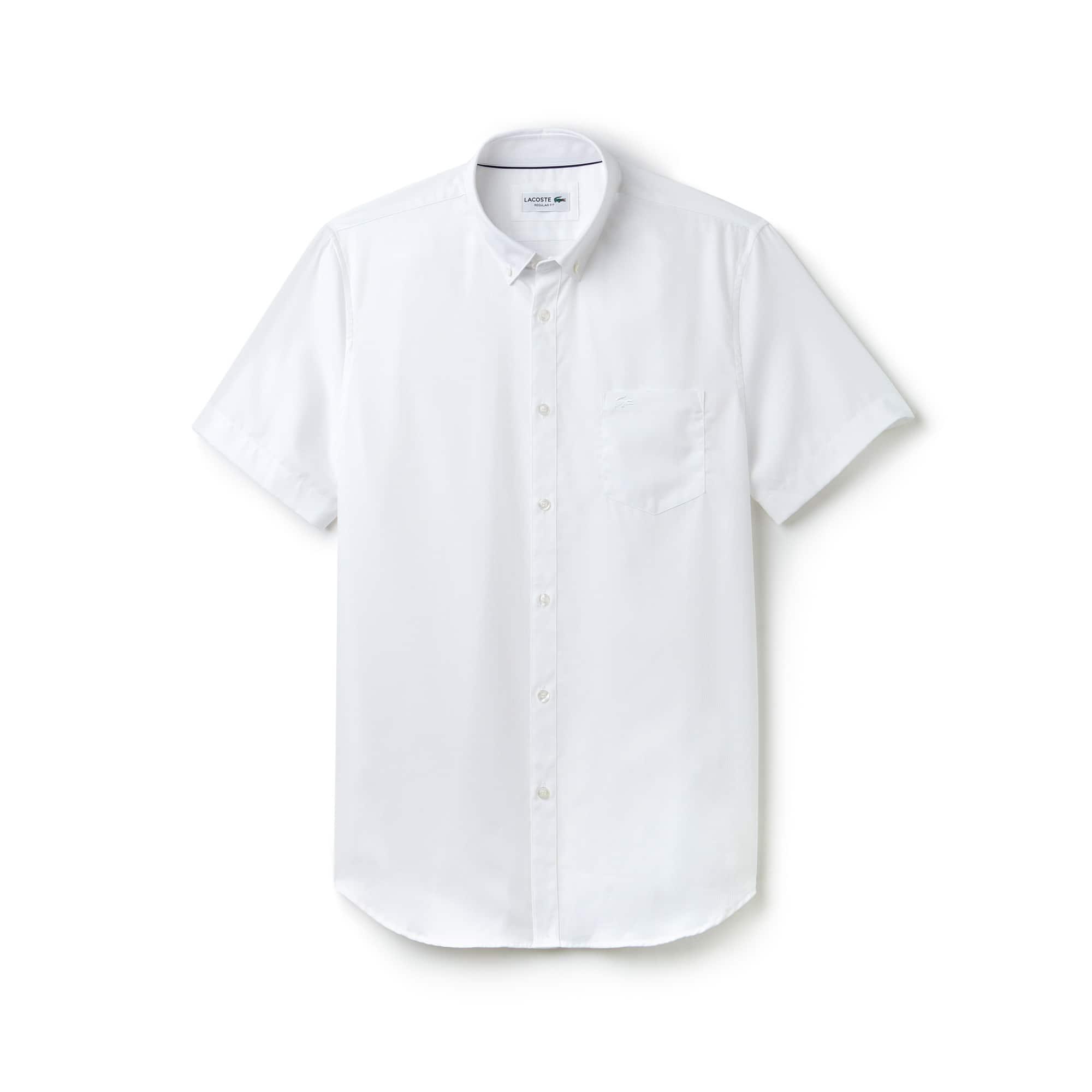 Camicia regular fit a maniche corte in popeline a rilievi