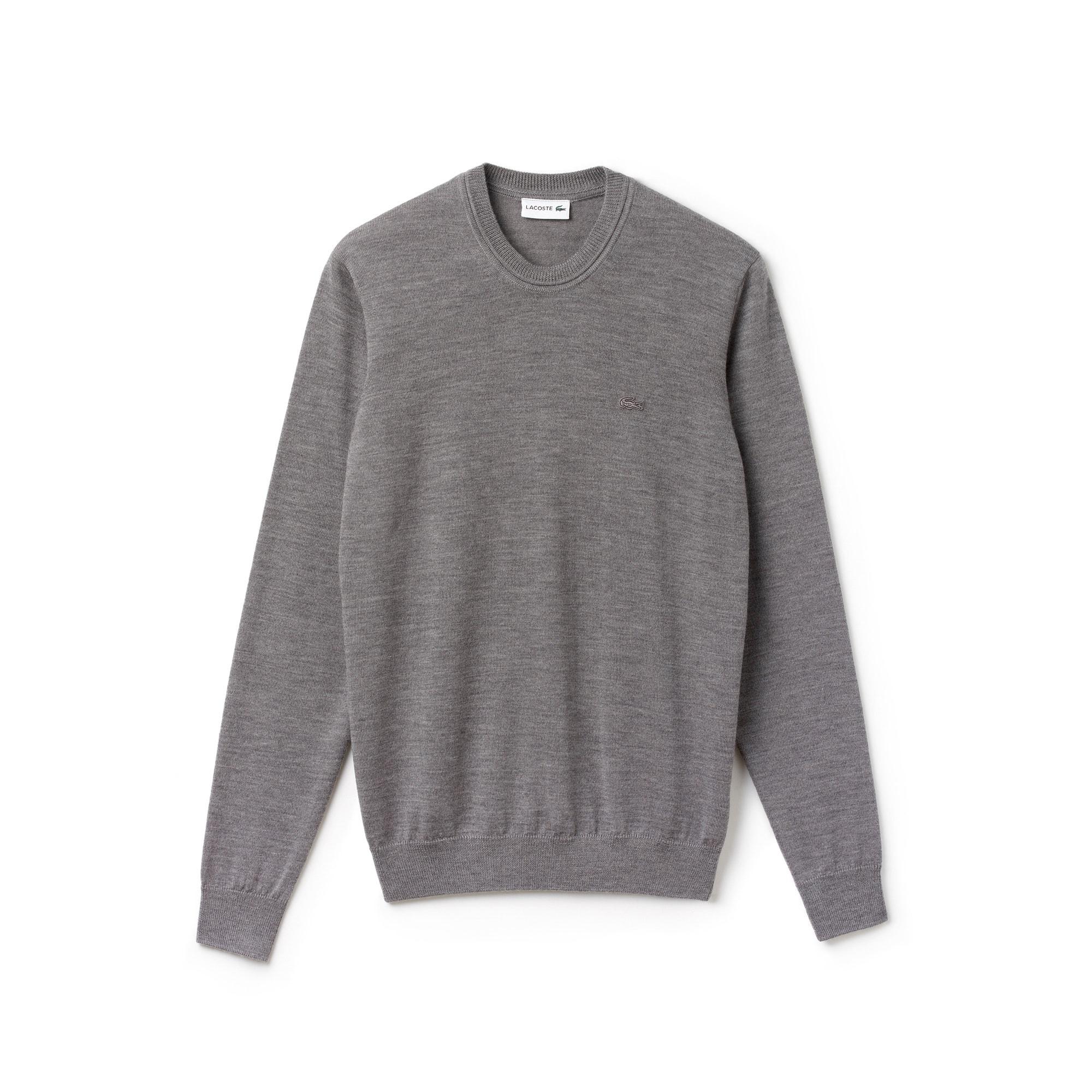 Pullover a girocollo in jersey di lana tinta unita