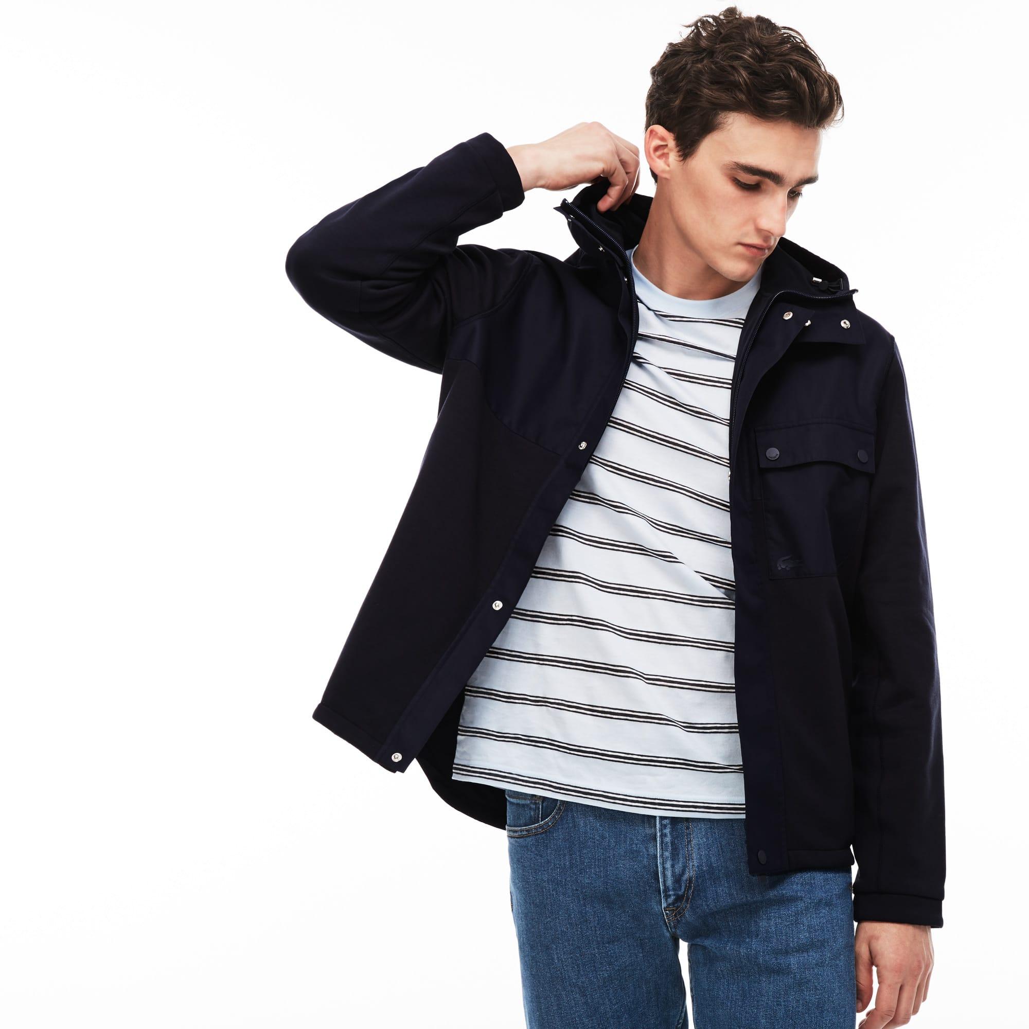 Felpa reversibile con zip in mollettone e jersey color block