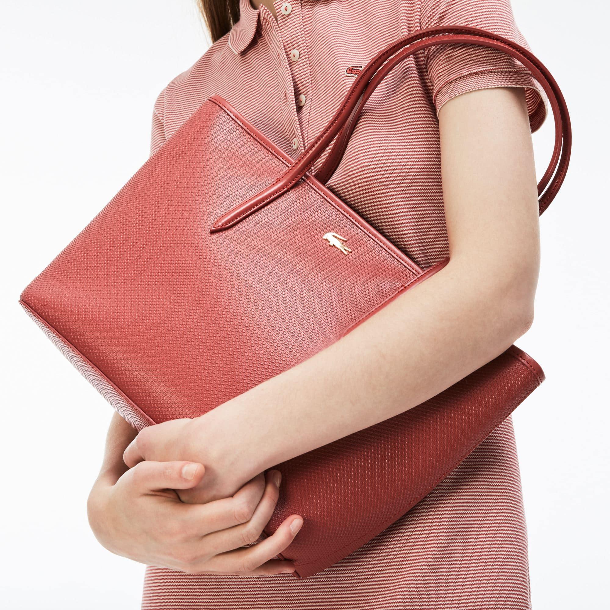 Shopping bag con zip Chantaco in pelle a piqué tinta unita