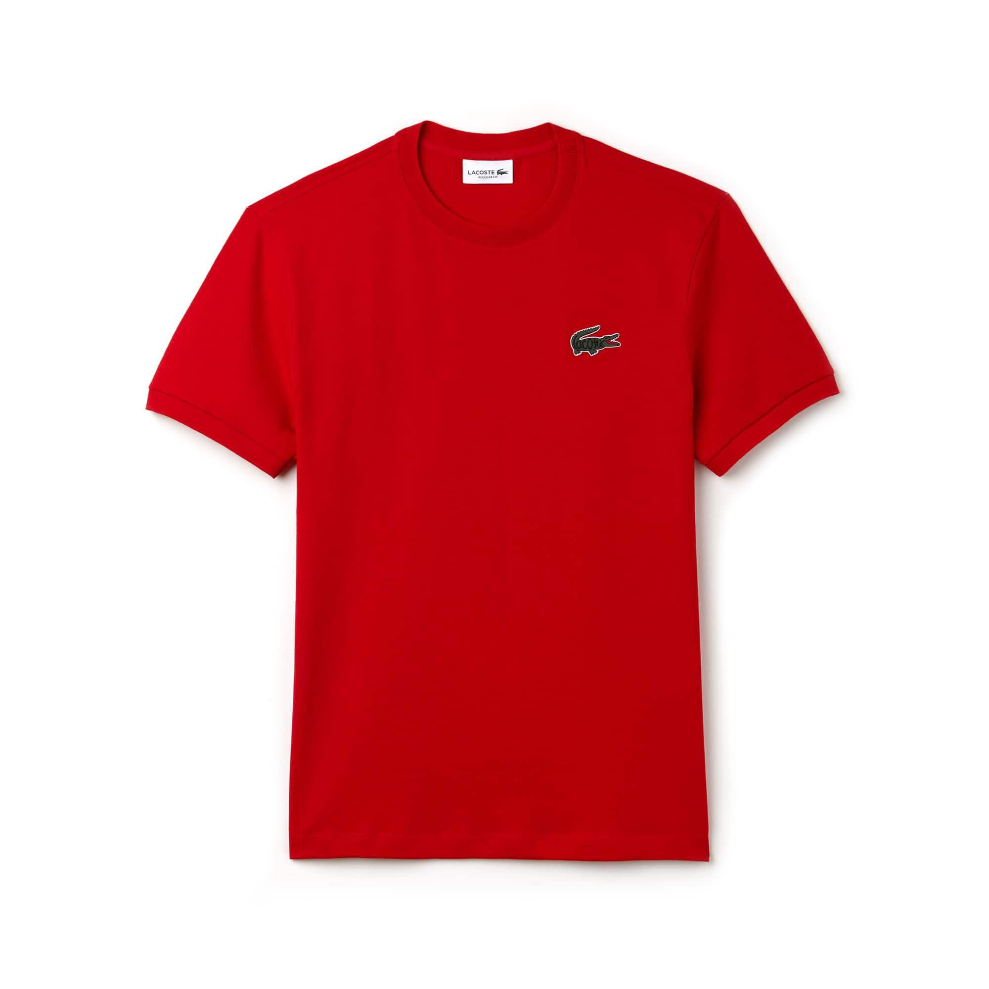 T-shirt a girocollo in jersey di cotone con coccodrillo marchiato Lacoste
