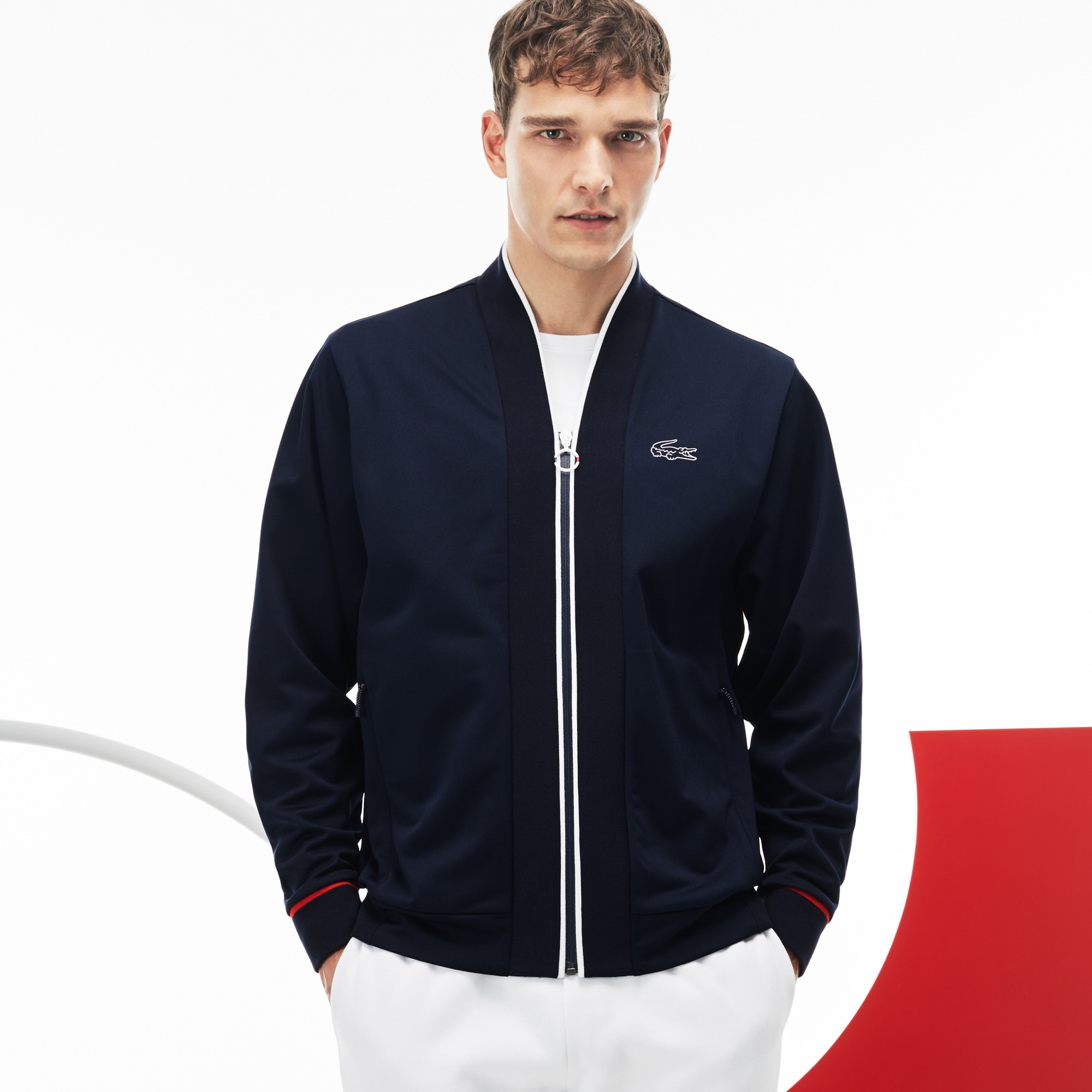 Felpa con zip Lacoste SPORT in piqué tecnico Edizione COLLECTION TRICOLORE