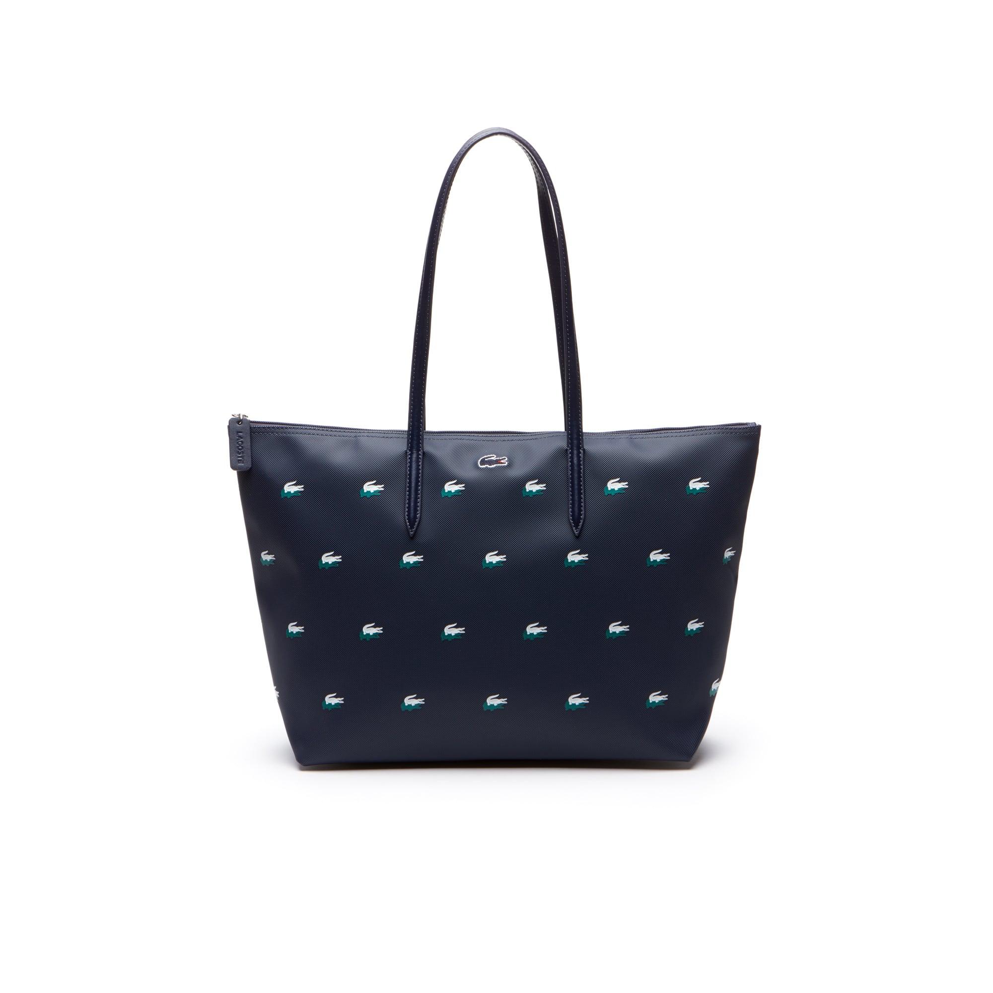 Shopping bag con cerniera ampia in petit piqué con motivo a coccodrilli L.12.12 Concept da donna
