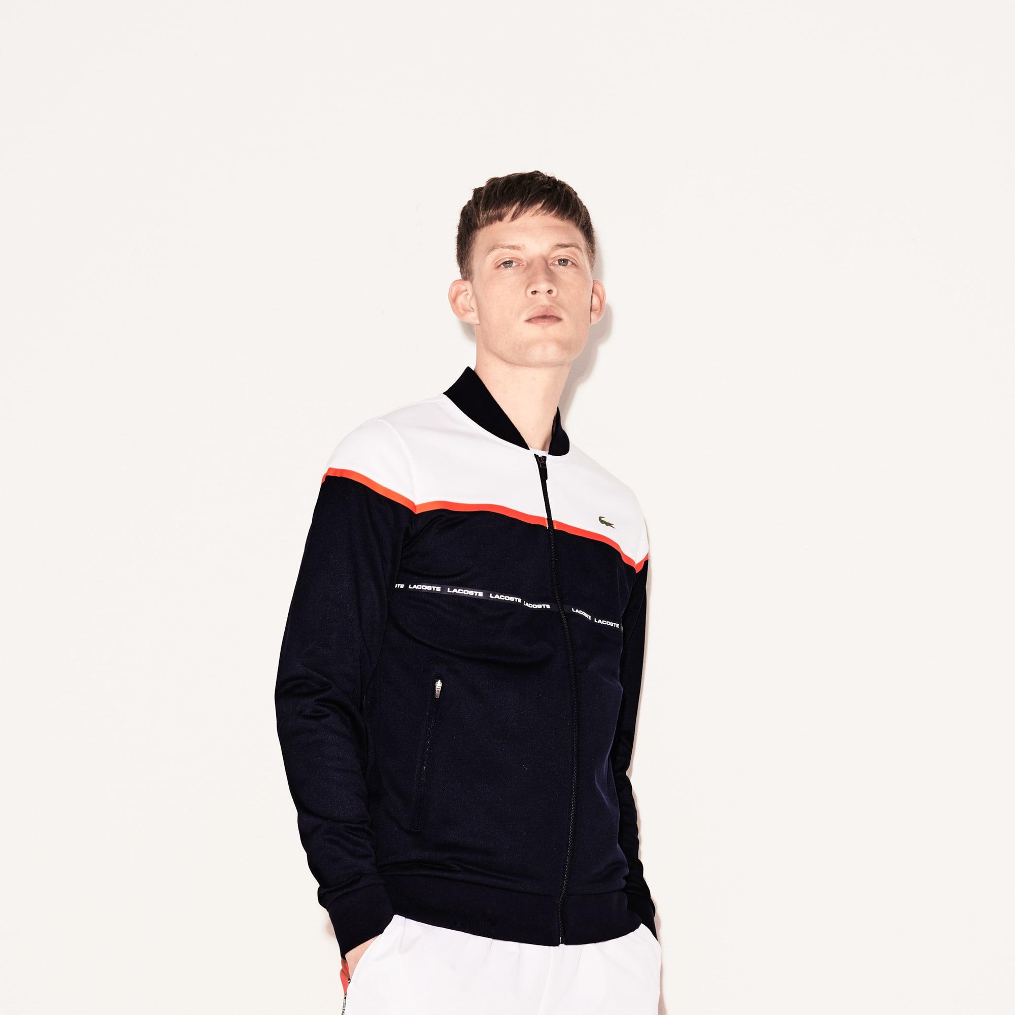 Giacca con zip Tennis Lacoste SPORT in piqué tecnico color block