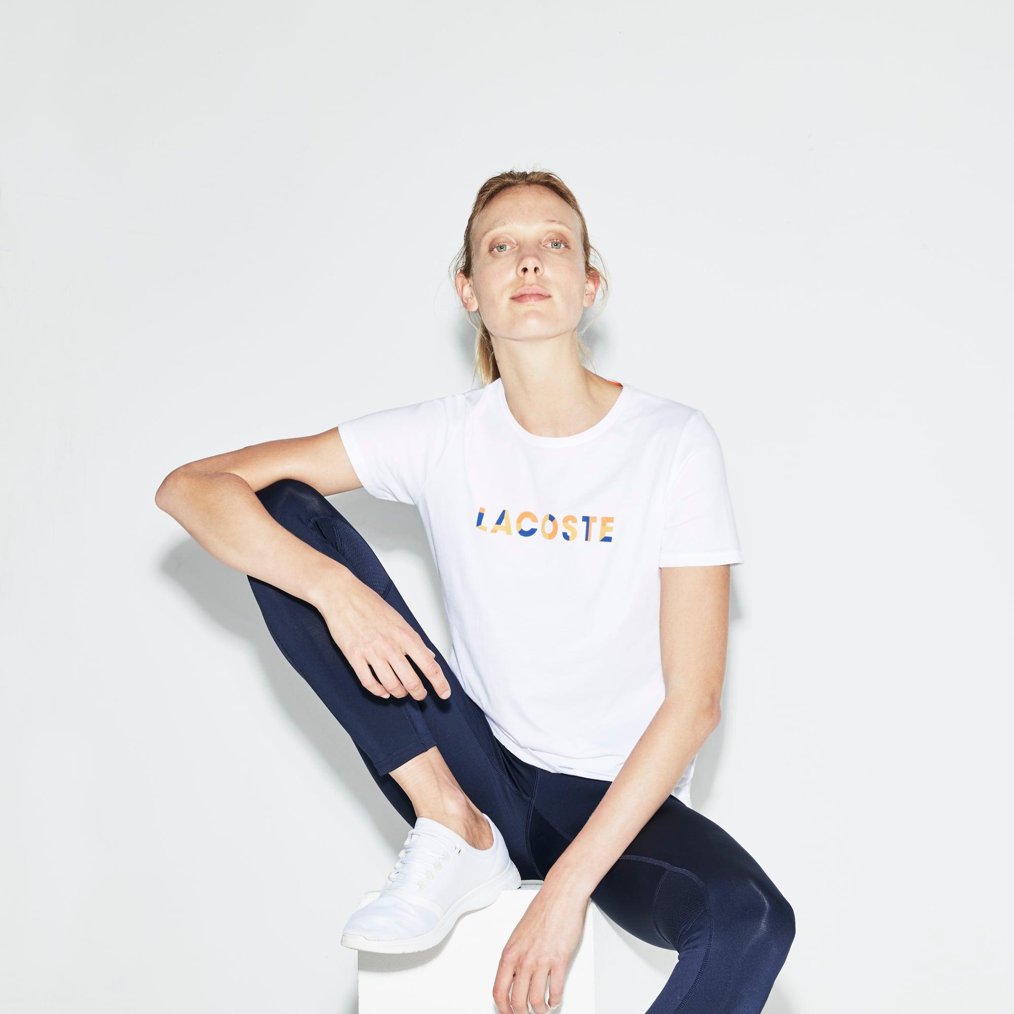 T-shirt a girocollo Tennis Lacoste SPORT in jersey con marchio