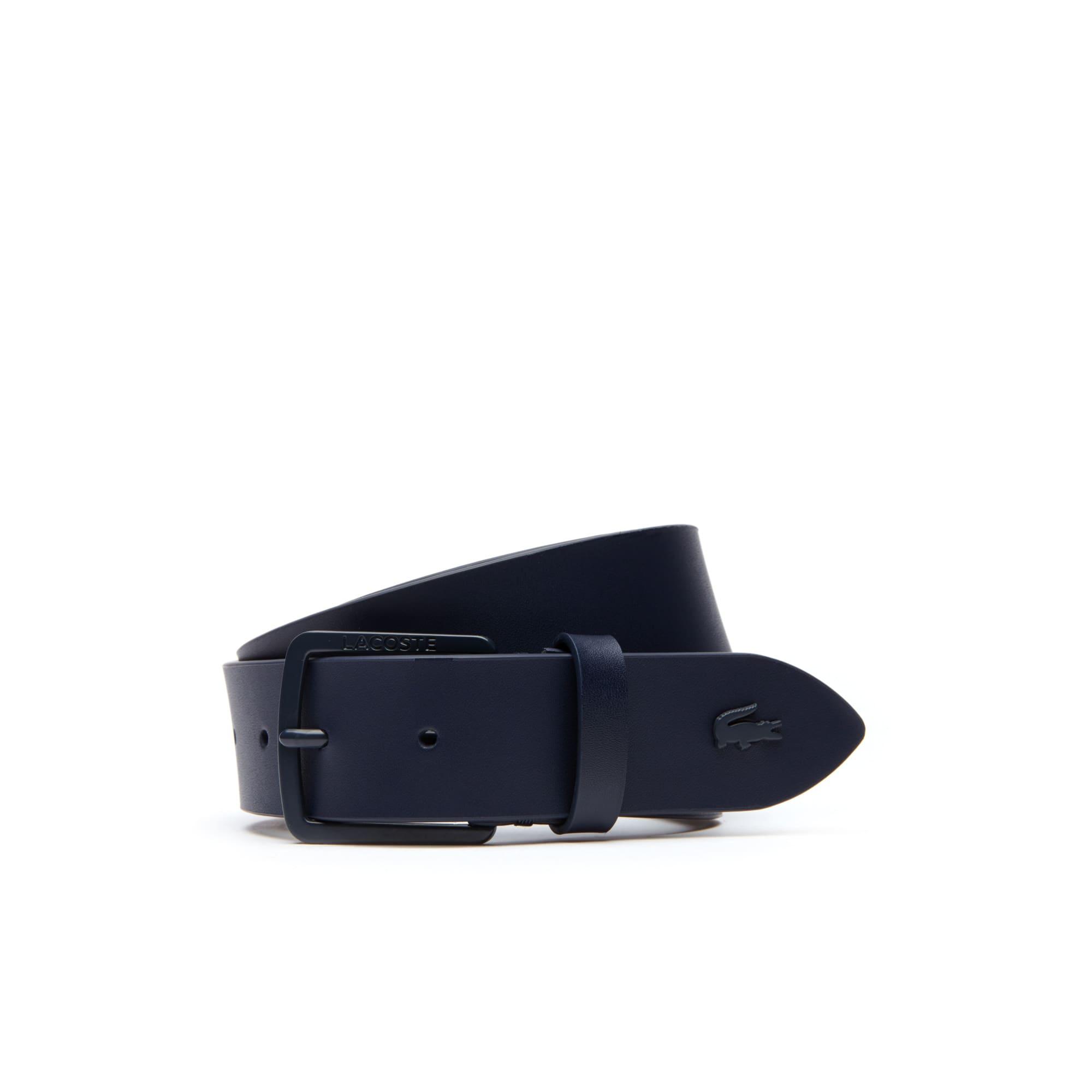 Cintura in pelle con fibbia ad ardiglione dotata di incisione Lacoste