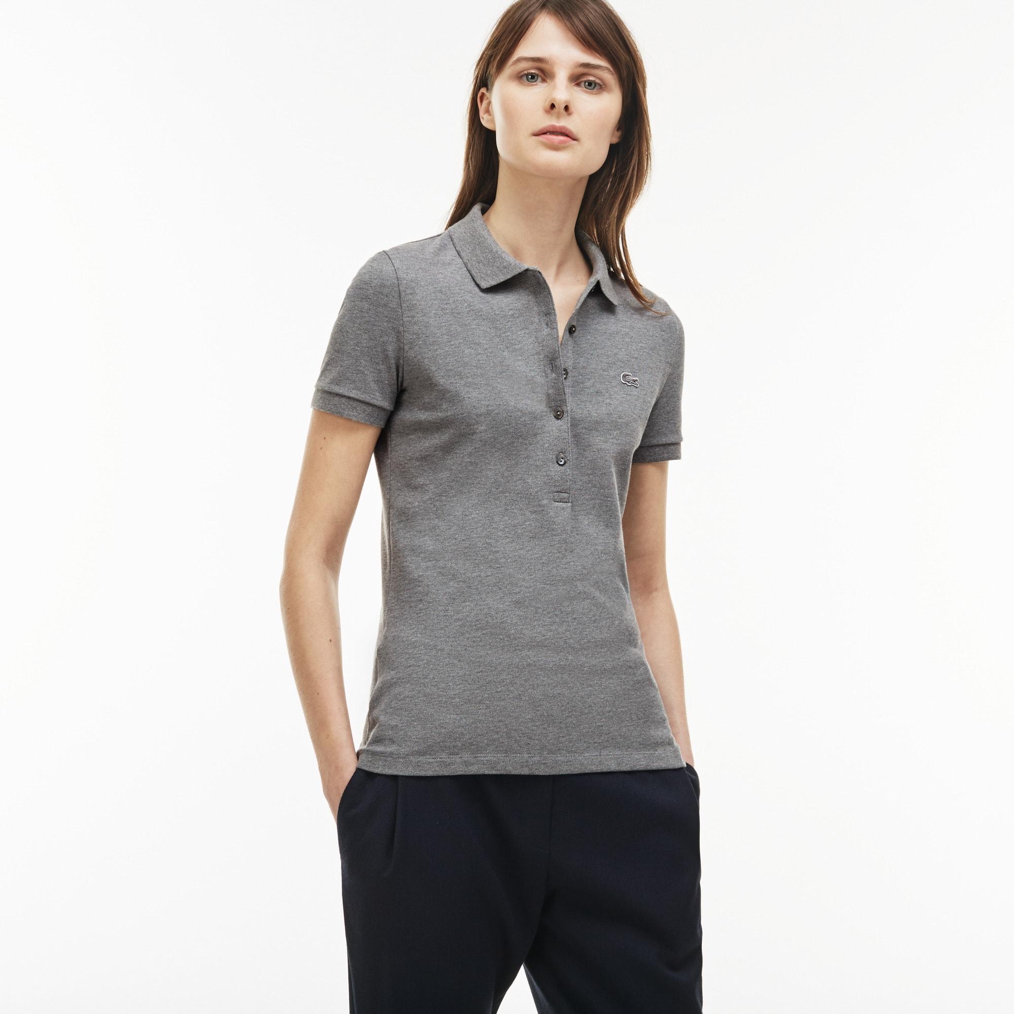 Polo slim fit Lacoste in mini piqué di cotone stretch tinta unita