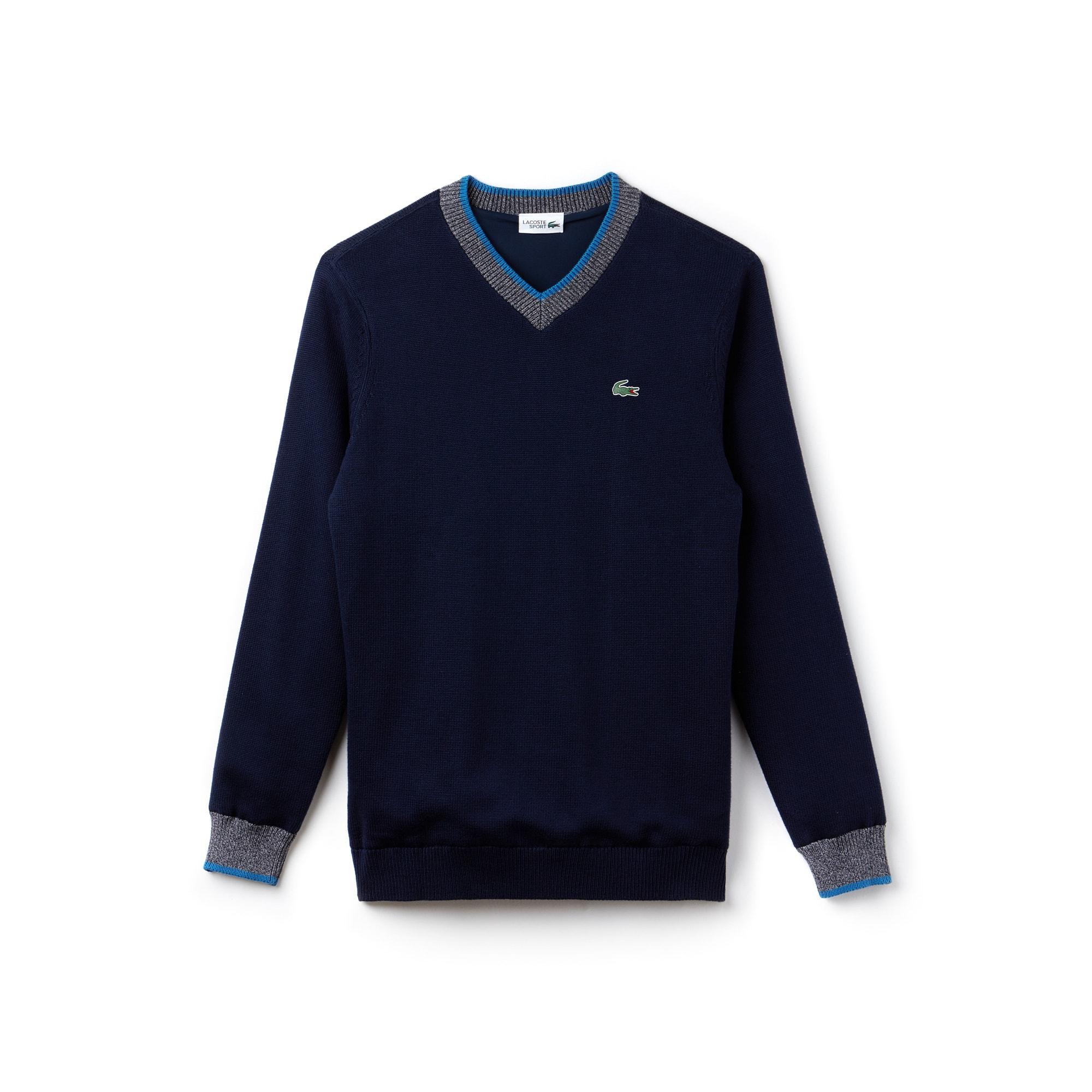 Pullover con collo a V Golf Lacoste SPORT in maglia tecnica di cotone tinta unita