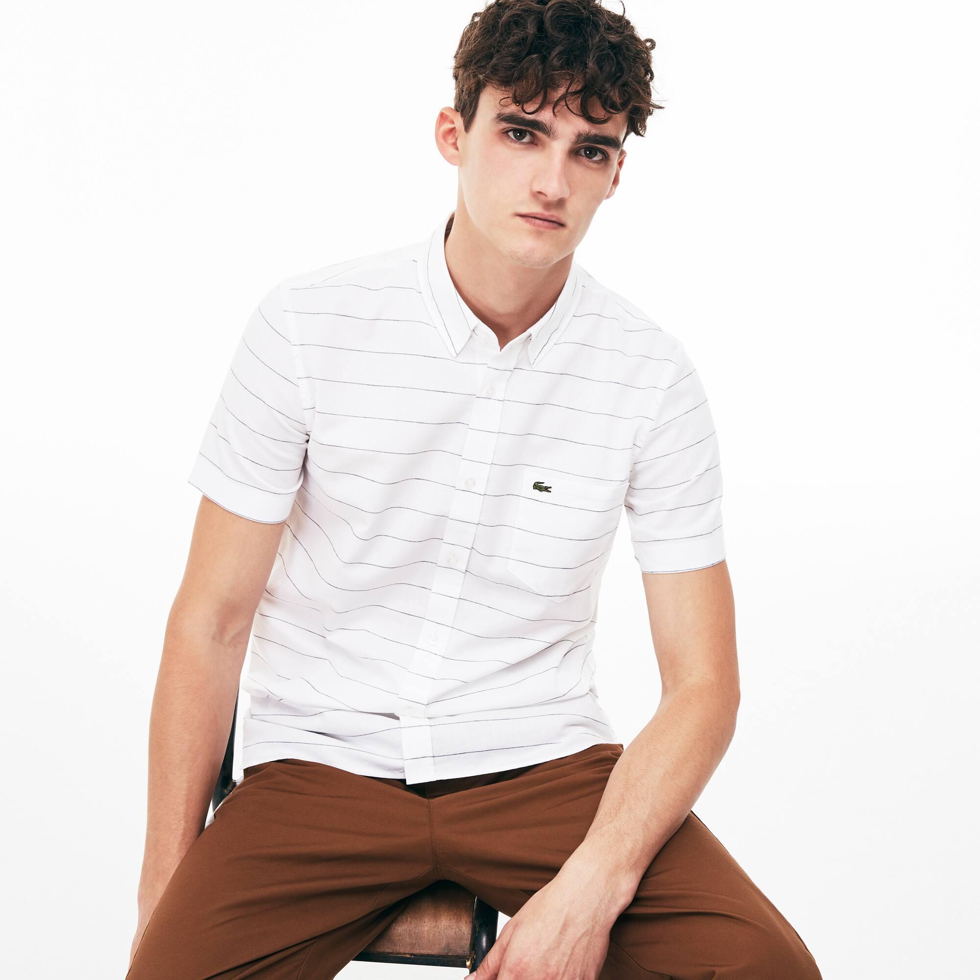 Camicia slim fit a maniche corte in cotone Oxford e lino a righe