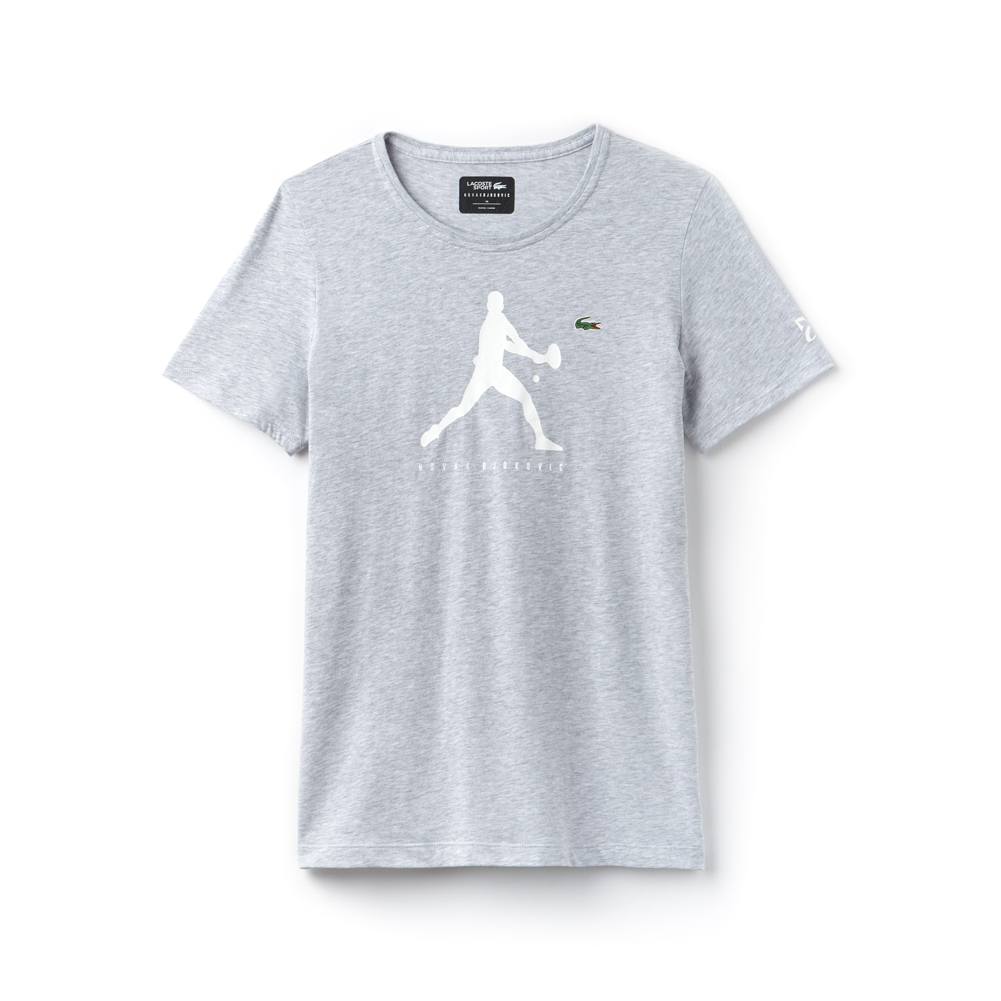 T-shirt girocollo Lacoste SPORT COLLEZIONE NOVAK DJOKOVIC SUPPORT WITH STYLE in jersey tinta unita con stampa