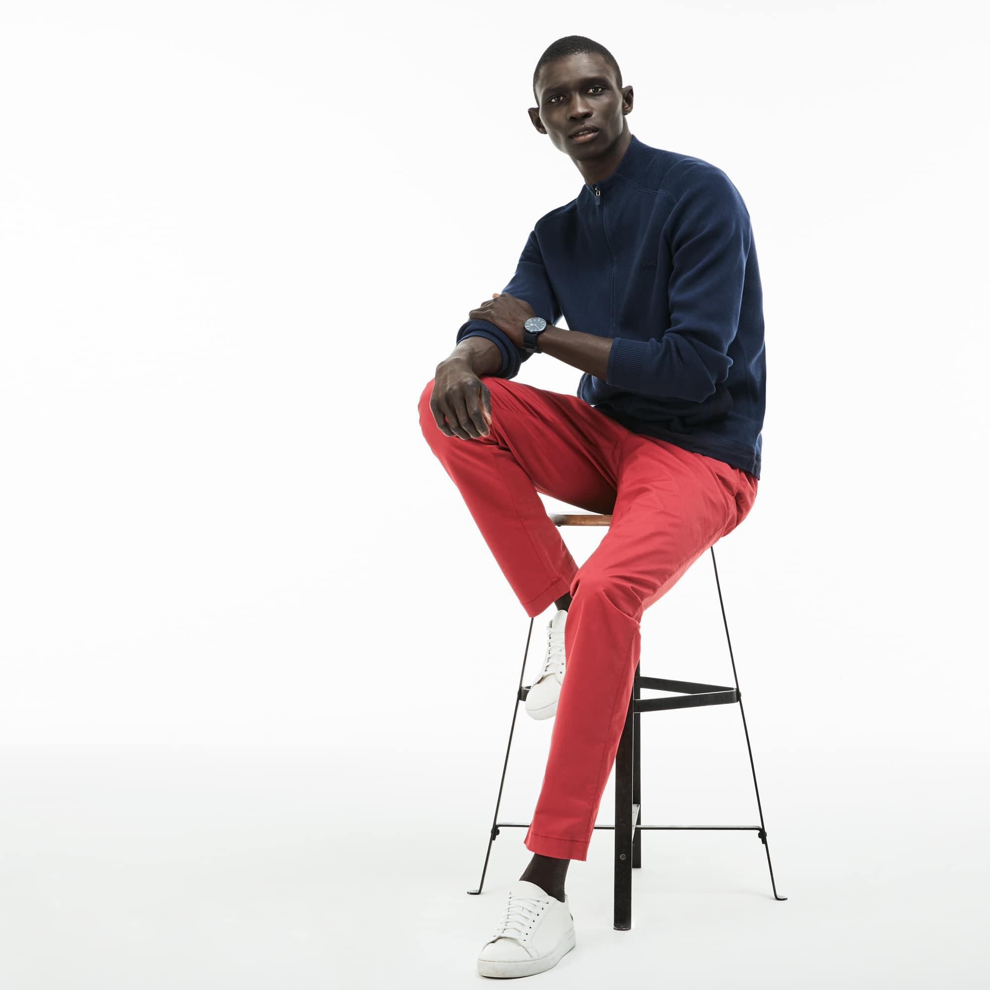 Pantaloni chino slim fit in gabardine stretch tinta unita