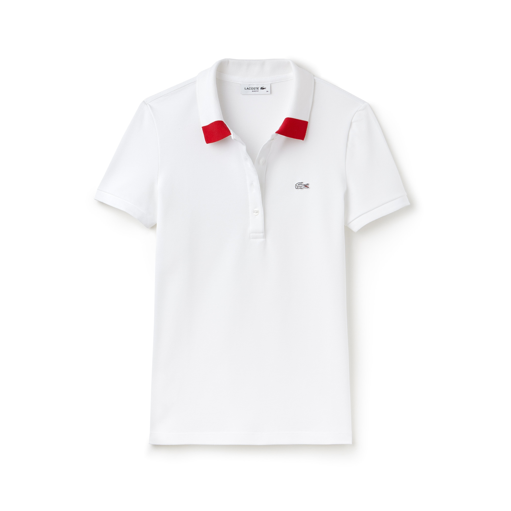 Polo con collo bicolore slim fit Lacoste in mini piqué stretch tinta unita