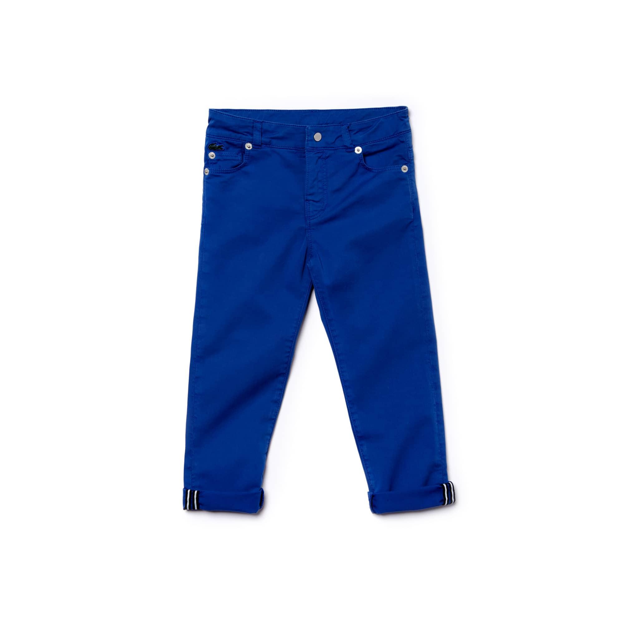 Pantaloni Bambino 5 tasche in gabardine stretch tinta unita